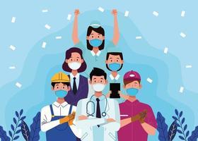 grupo de trabajadores con mascarillas vector