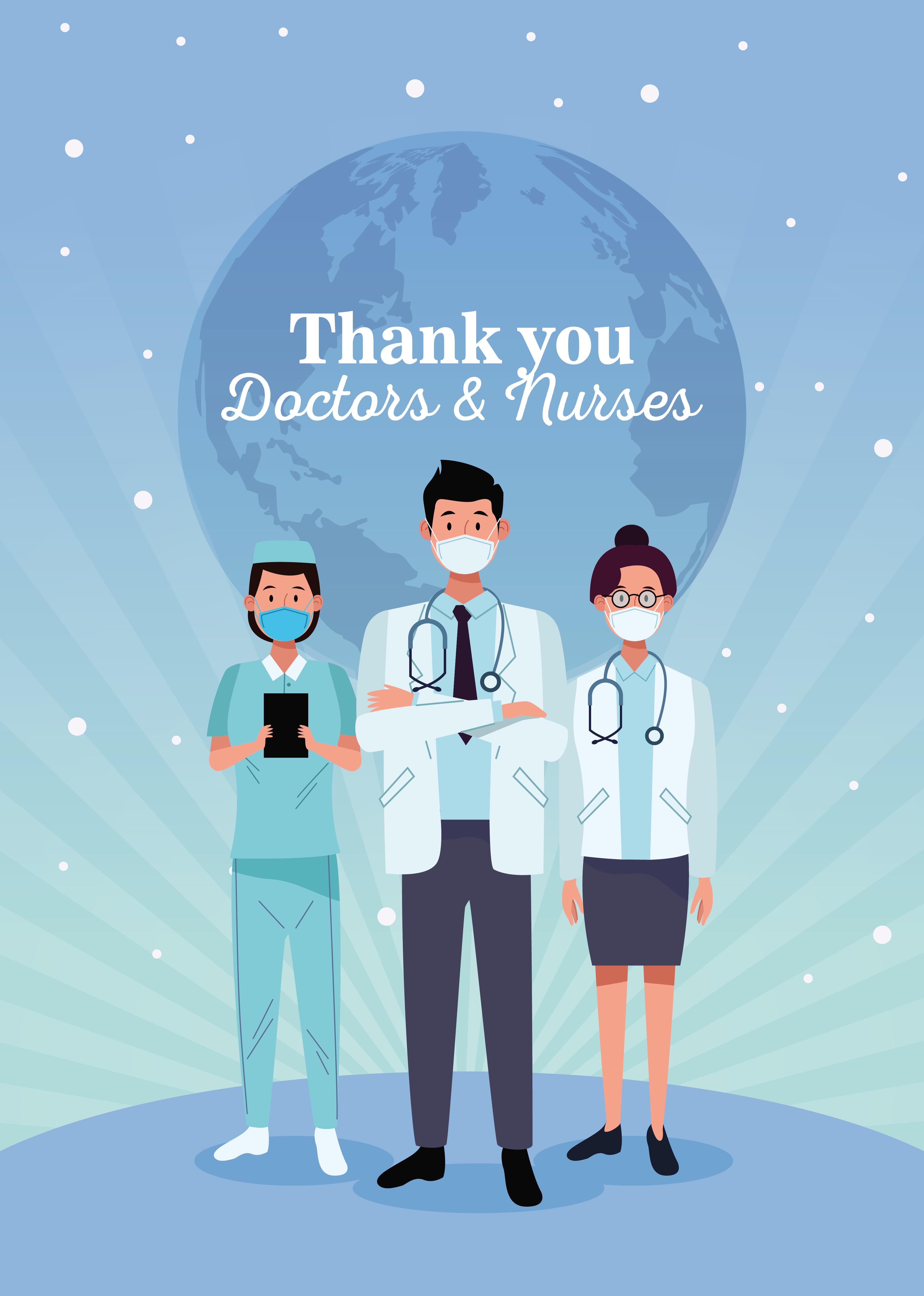 personagens médicos da equipe com mensagem vetor