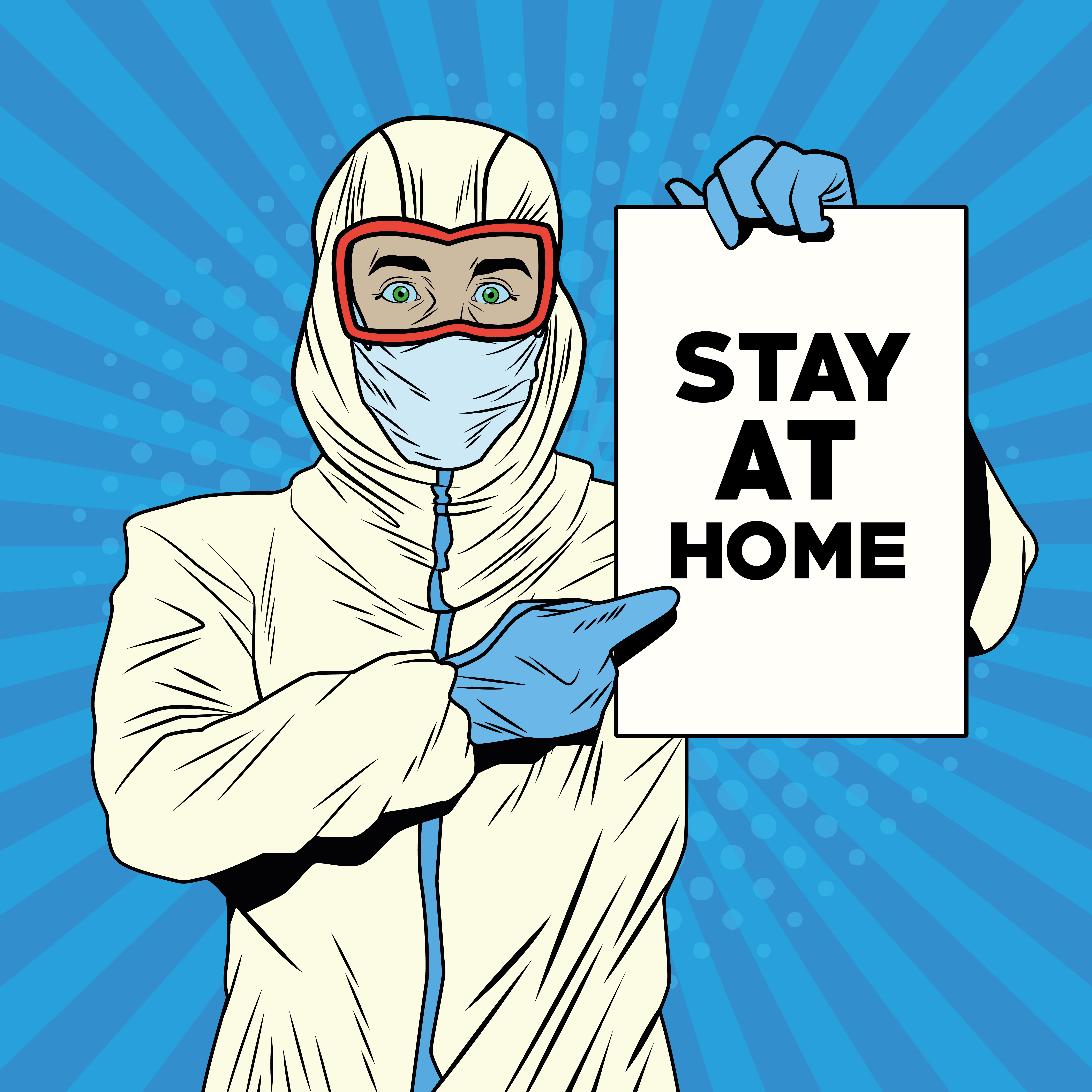 Man with biosafety suit and stay at home message