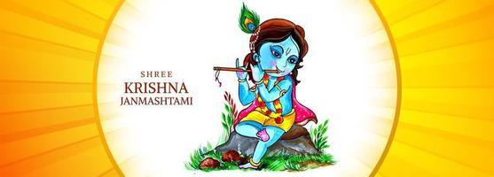 Happy Krishna on Rock Playing Flute Janmashtami Festival Banner vector
