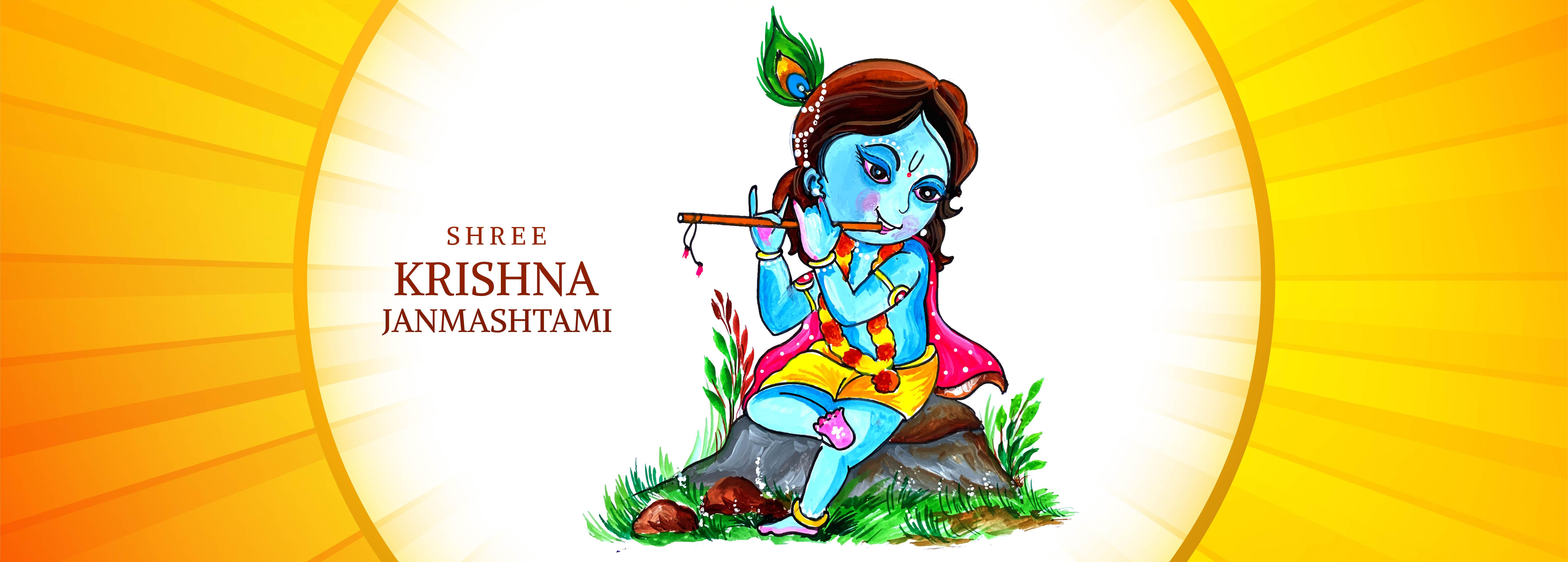 Happy Krishna on Rock Playing Flute Janmashtami Festival Banner