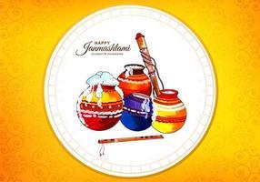 Happy Krishna Pots in Circle Frame Janmashtami Festival Card vector