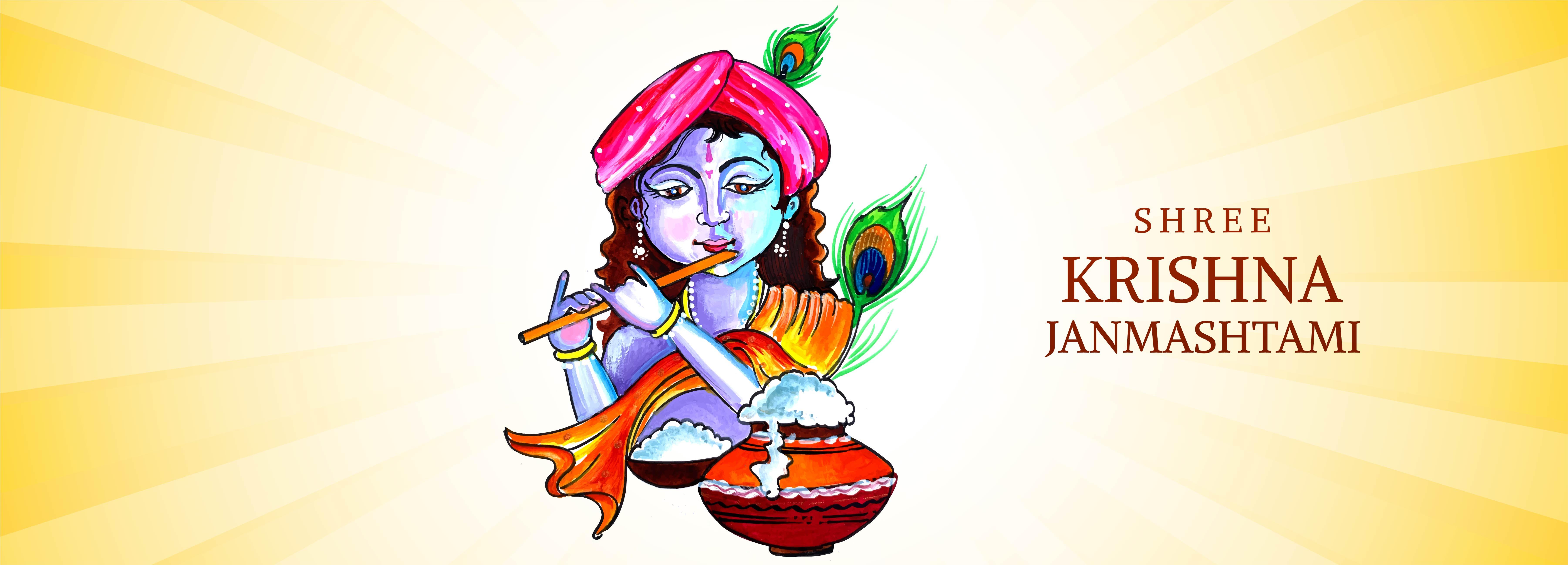 señor krishna tocando la flauta con fajín naranja janmashtami diseño de banner