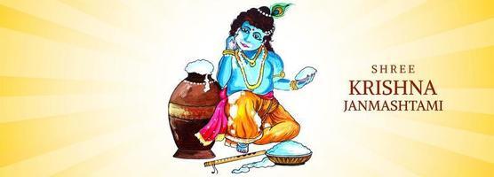 Lord Krishna Holding Handful of Porridge Janmashtami Banner vector