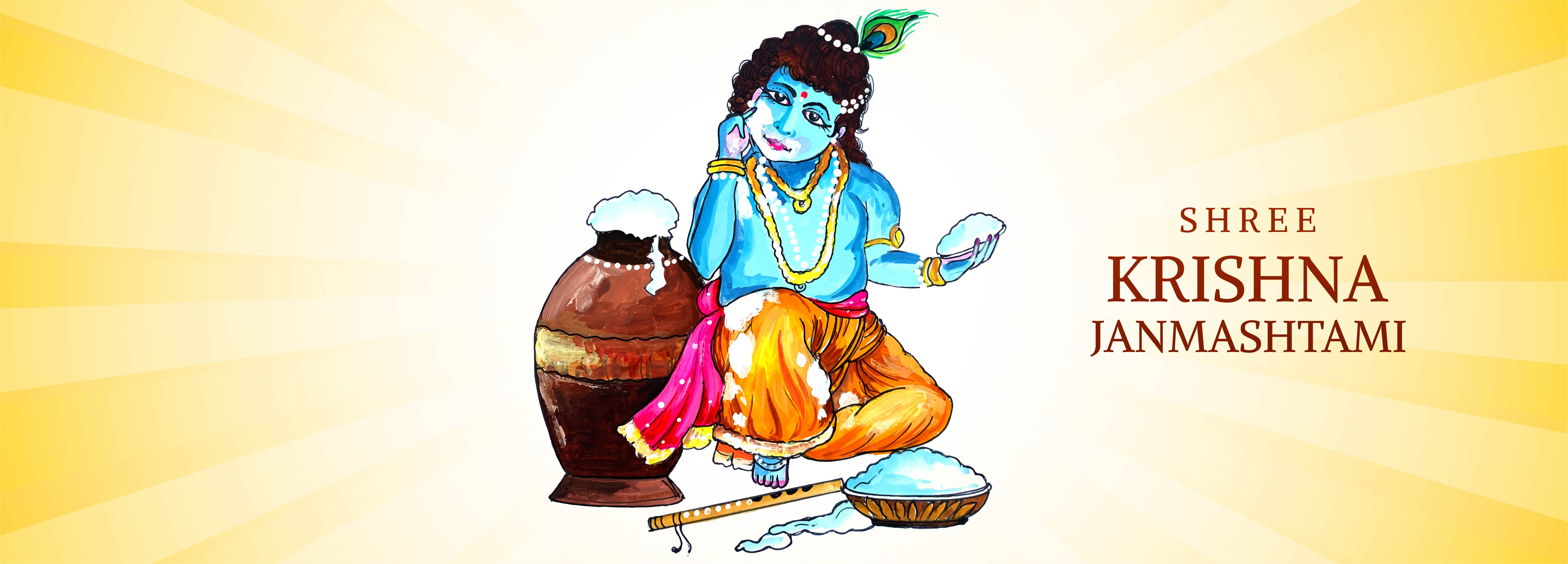 señor krishna sosteniendo un puñado de pancarta janmashtami de papilla