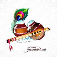 Happy Janmashtami Spilling Porridge Greeting Card Background vector