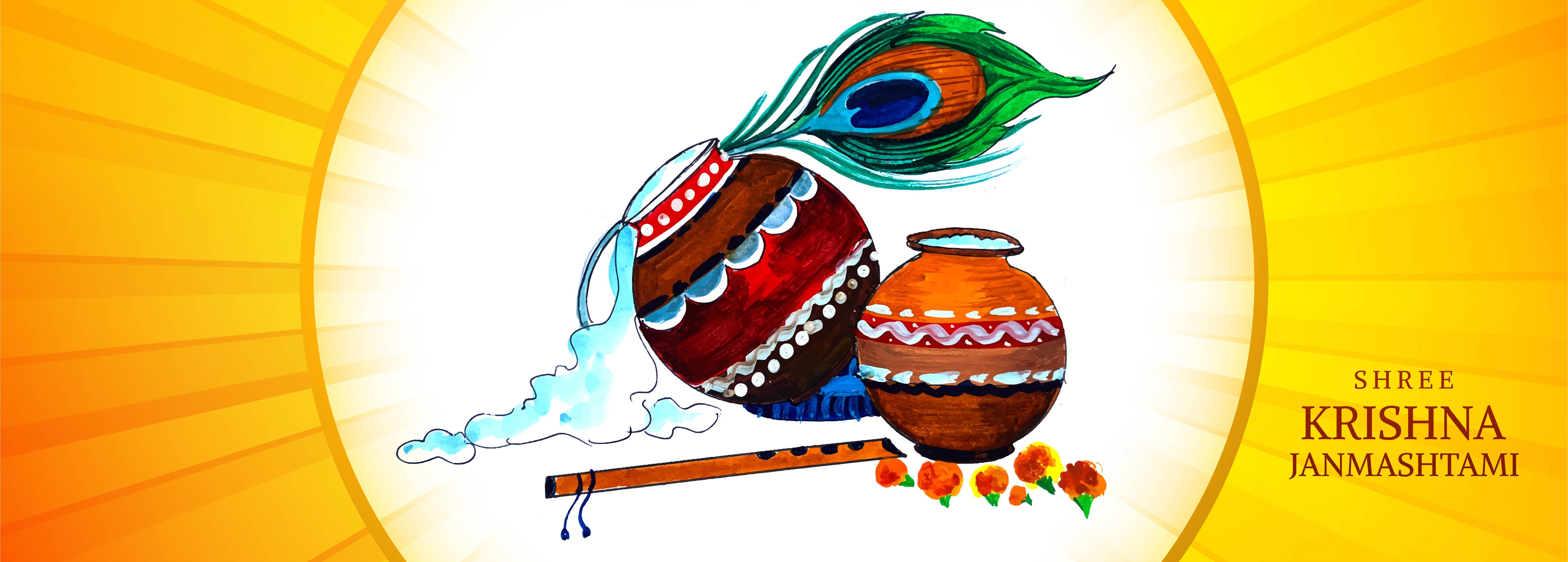 macetas coloridas religiosas krishna janmashtami diseño de banner de tarjeta