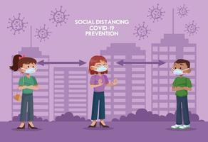 Grupo de personas con máscaras faciales y practicando la distancia social. vector