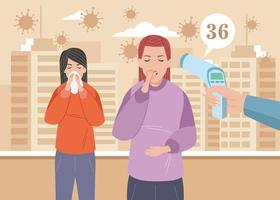 niñas enfermas con síntomas de covid 19 vector