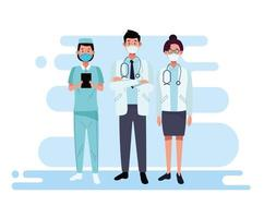 Group of doctors staff characters vector