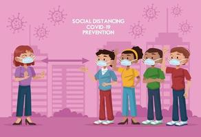 personas con máscaras faciales y practicando la distancia social. vector
