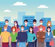 Multitud de personas que usan mascarilla para coronavirus vector