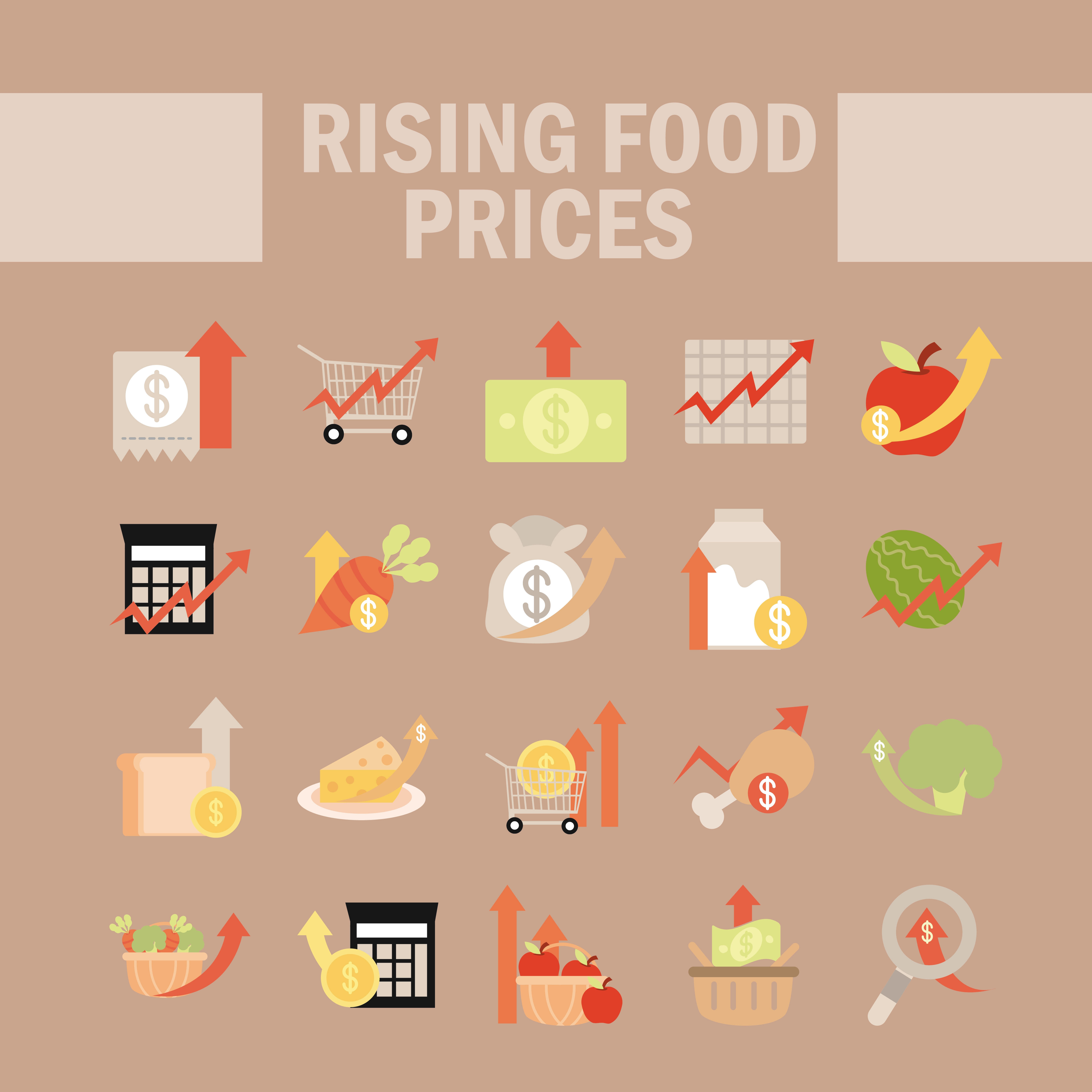 Rising food prices icon set vector
