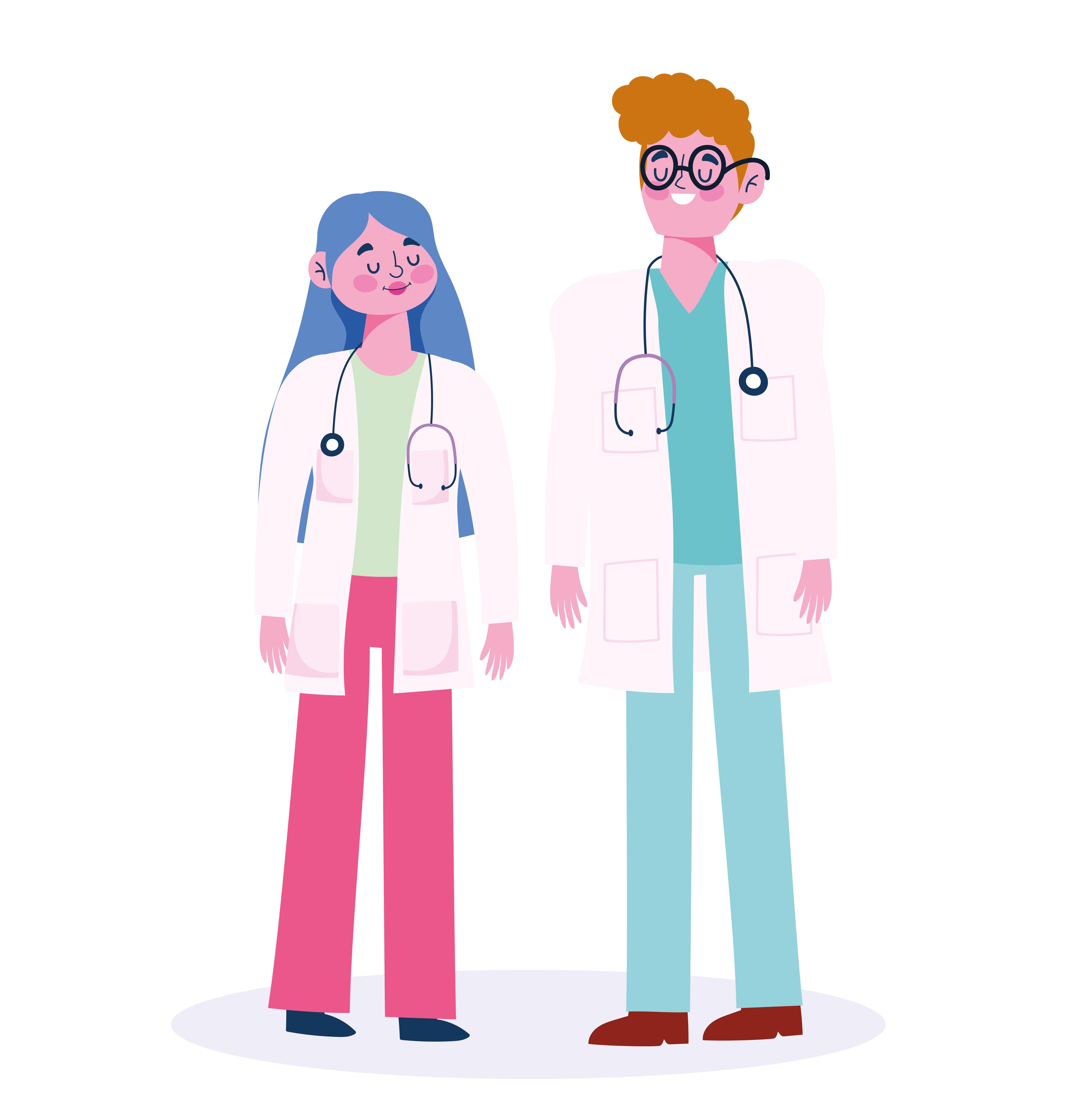 médicos masculinos y femeninos con estetoscopio y batas