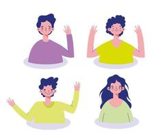 Young people character avatar set vector