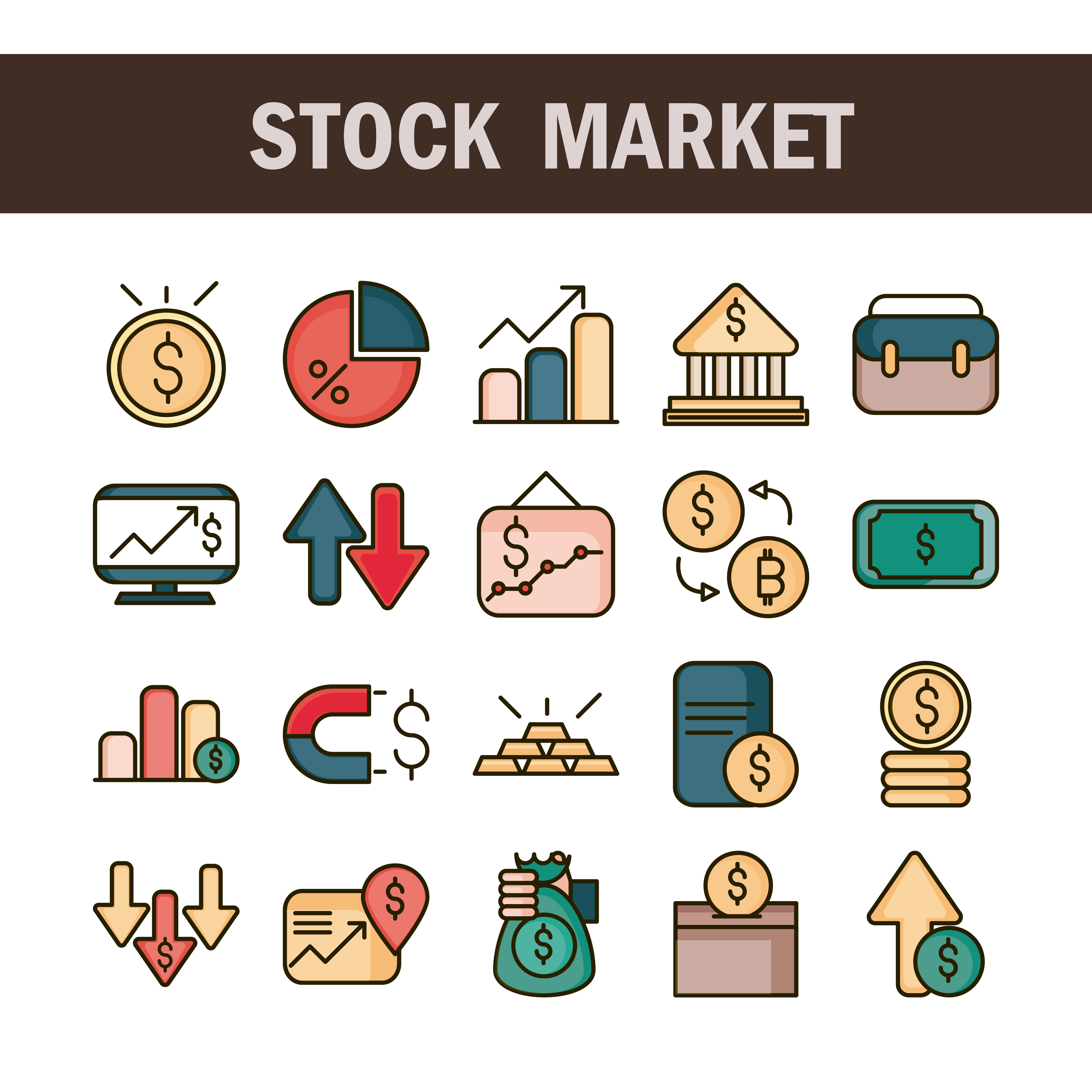 línea de mercado de valores y economía y conjunto de iconos de relleno