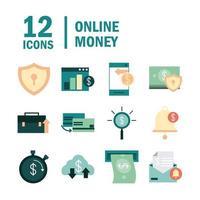 conjunto de iconos de banca electrónica y finanzas en línea vector