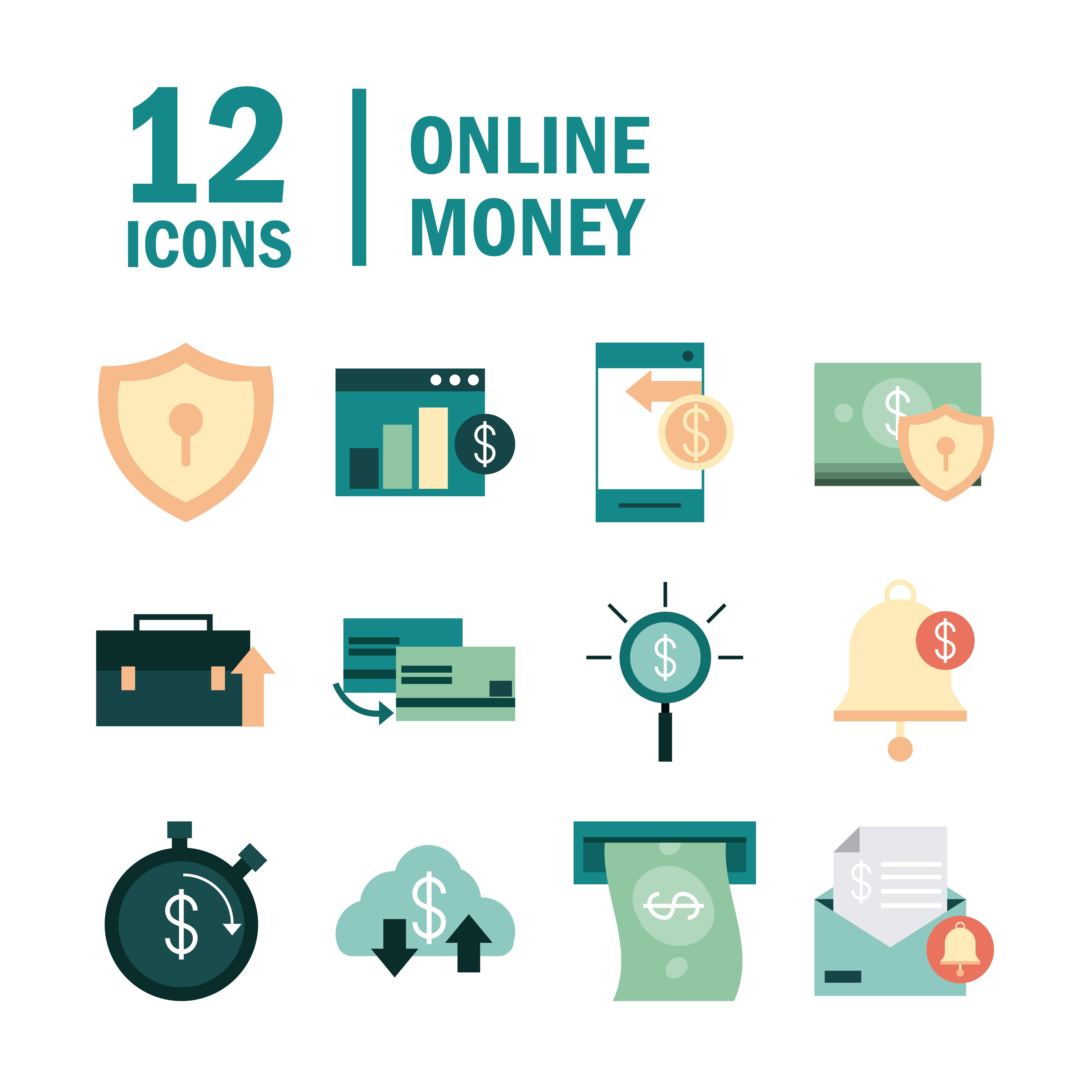 conjunto de iconos de banca electrónica y finanzas en línea