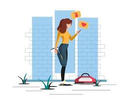 mujer estirando y actualizando las redes sociales. vector