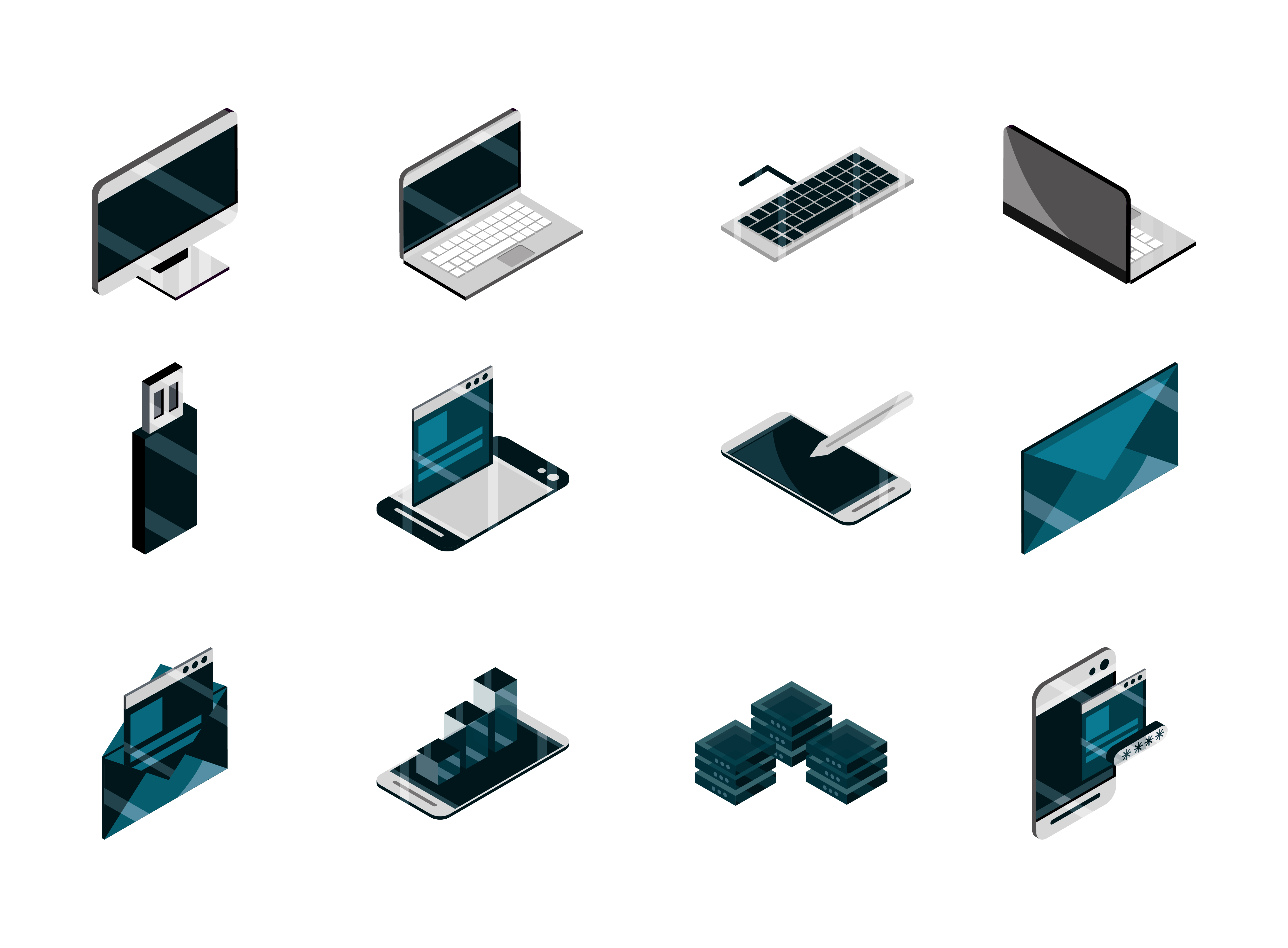 Tech and digital isometric icon set vector