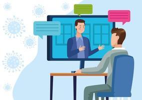 Businessmen in meeting online vector