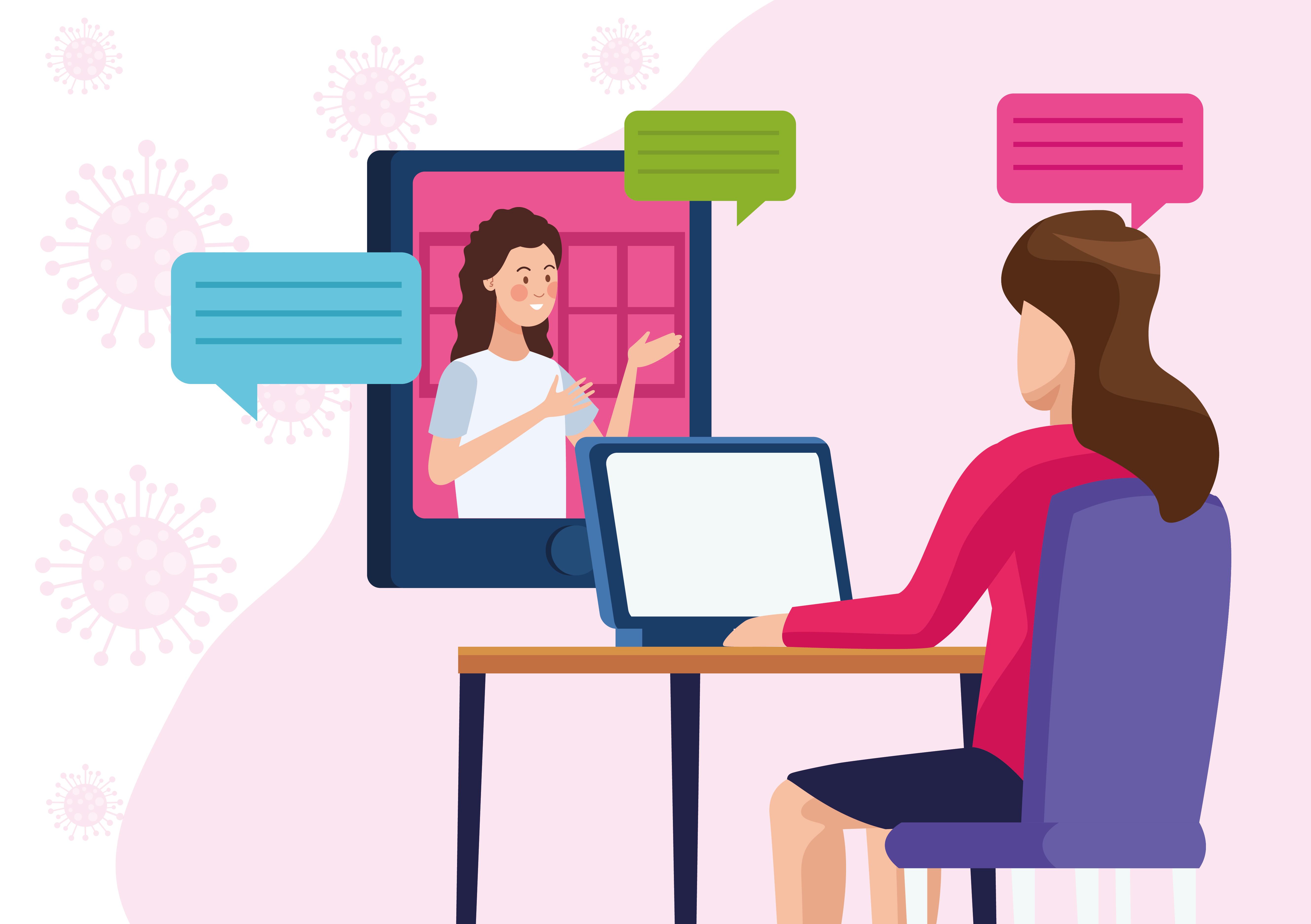 mujeres empresarias en reunión en línea