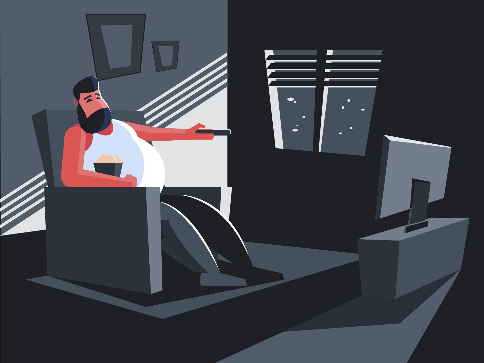 quedarse en casa viendo tv vector