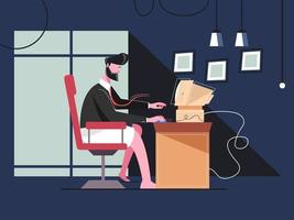 Businessman Working From Home vector