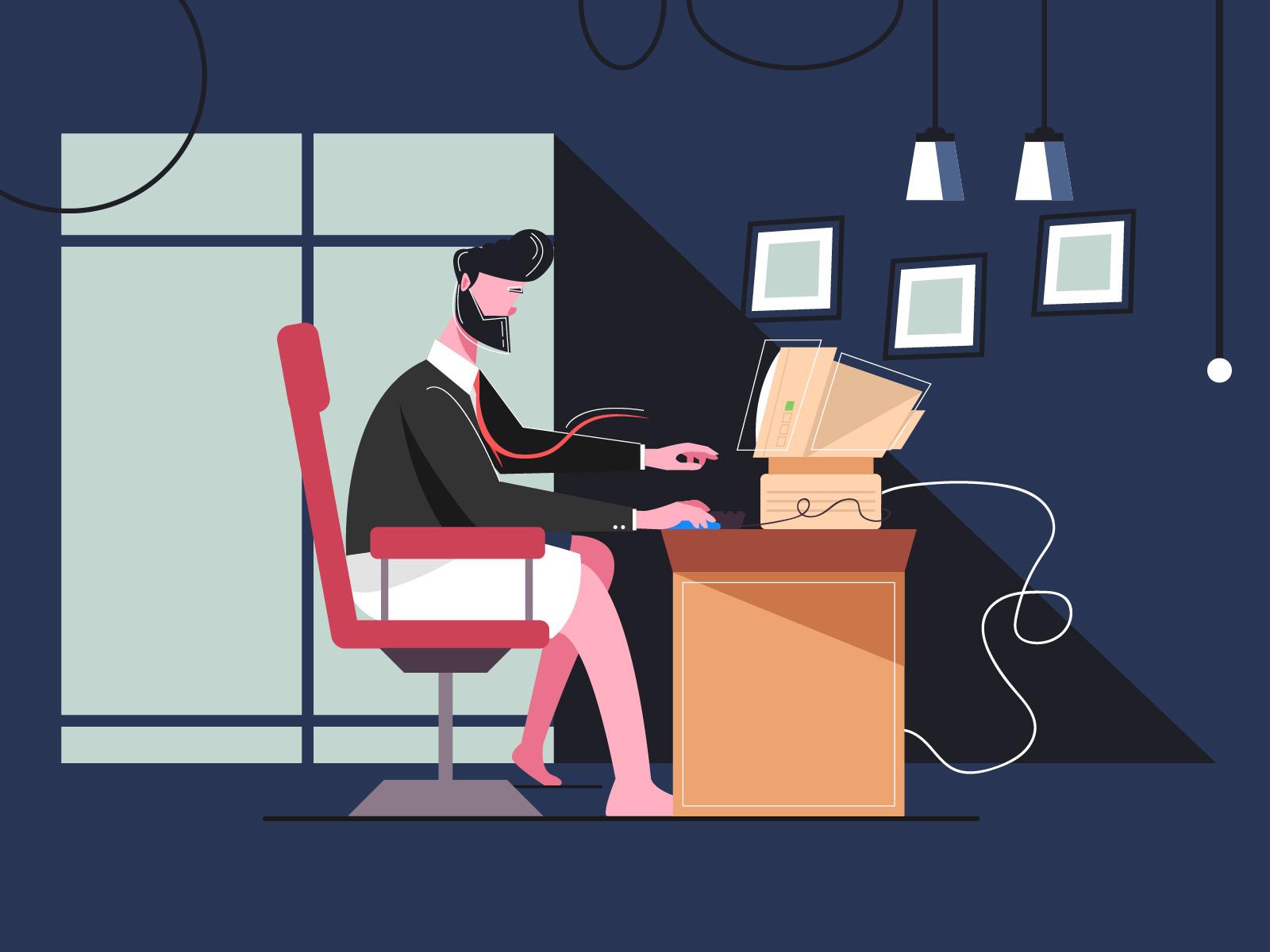 empresário trabalhando em casa