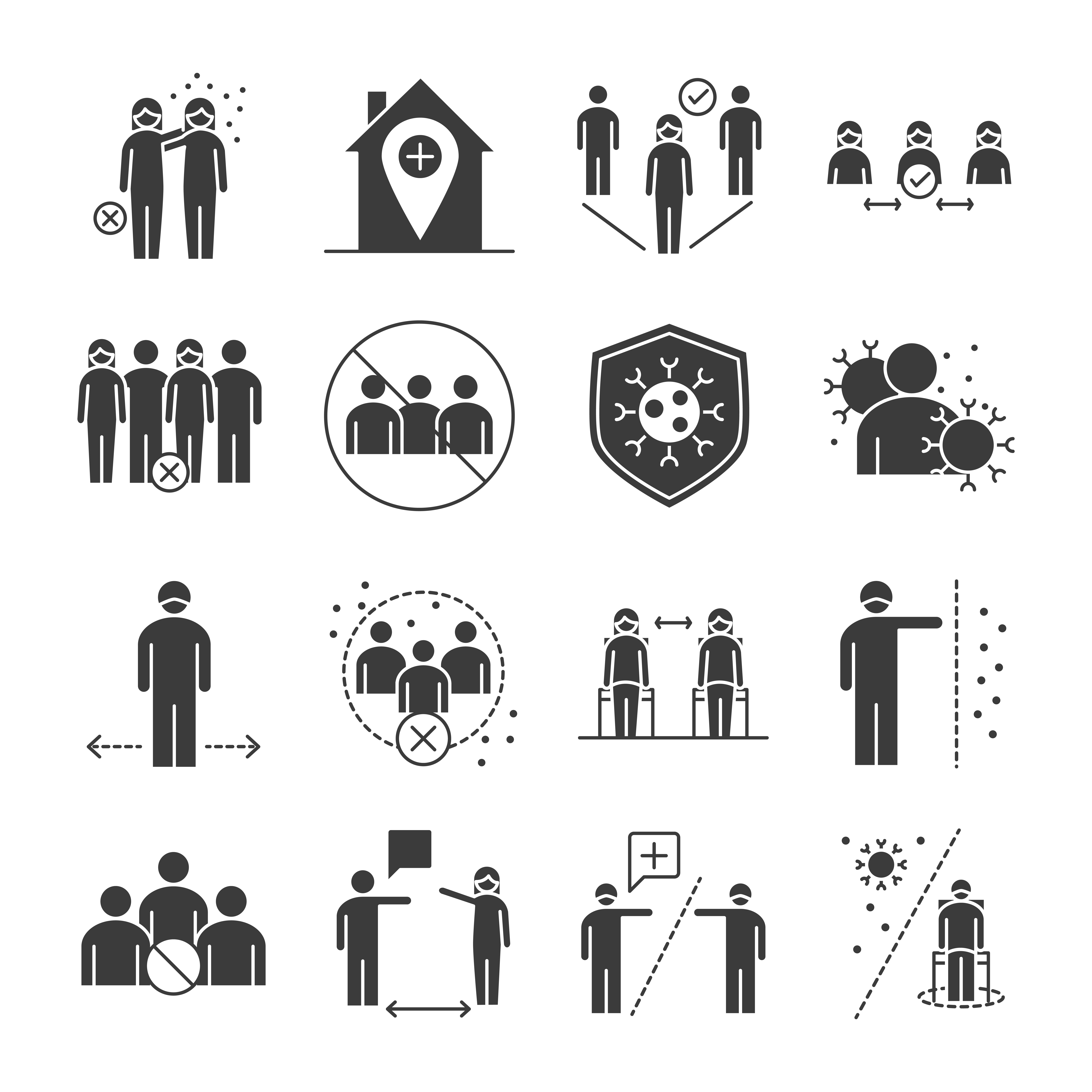 Viral infection pictogram icon set
