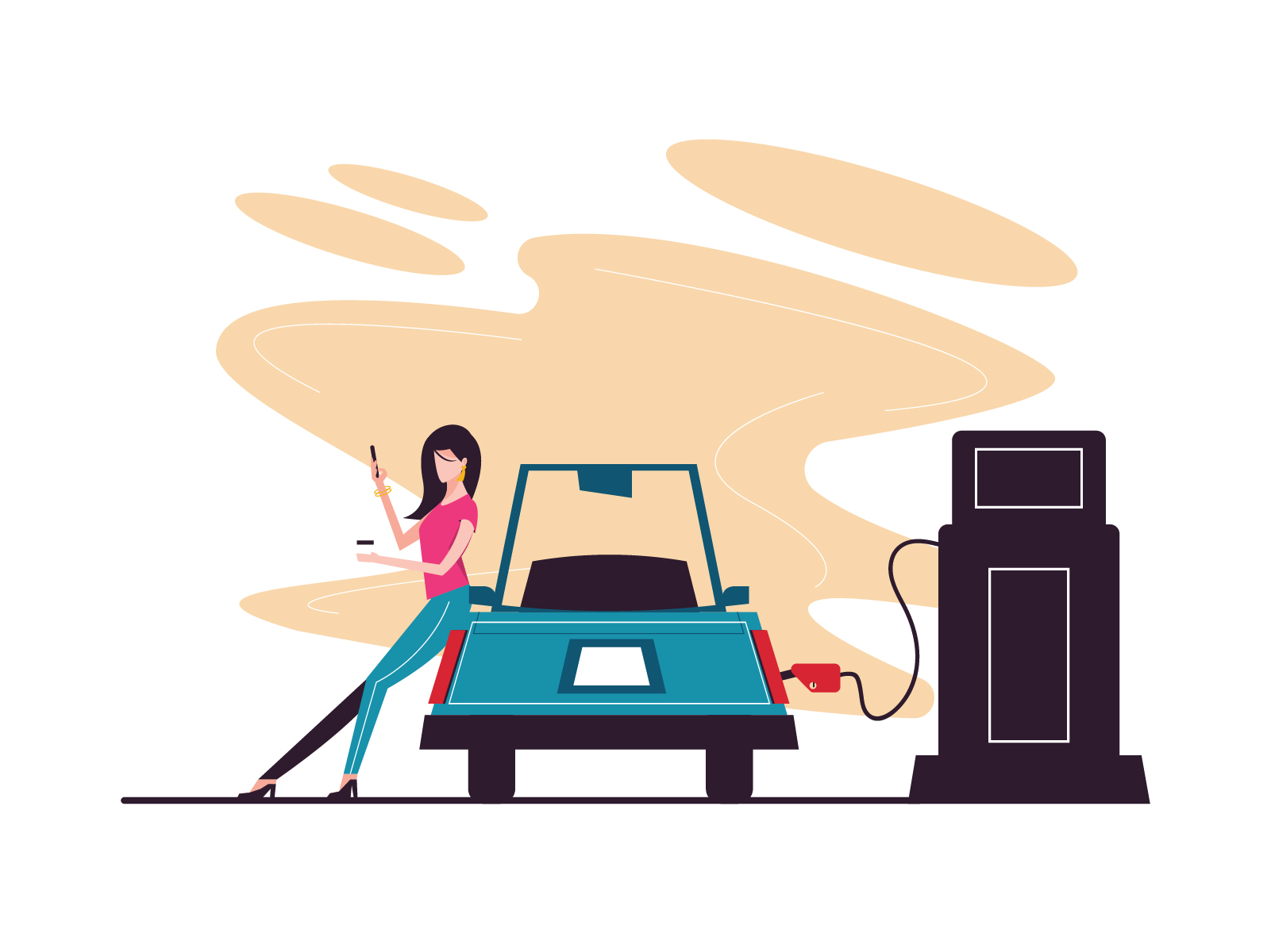 Car Refuel at Gas Station vector