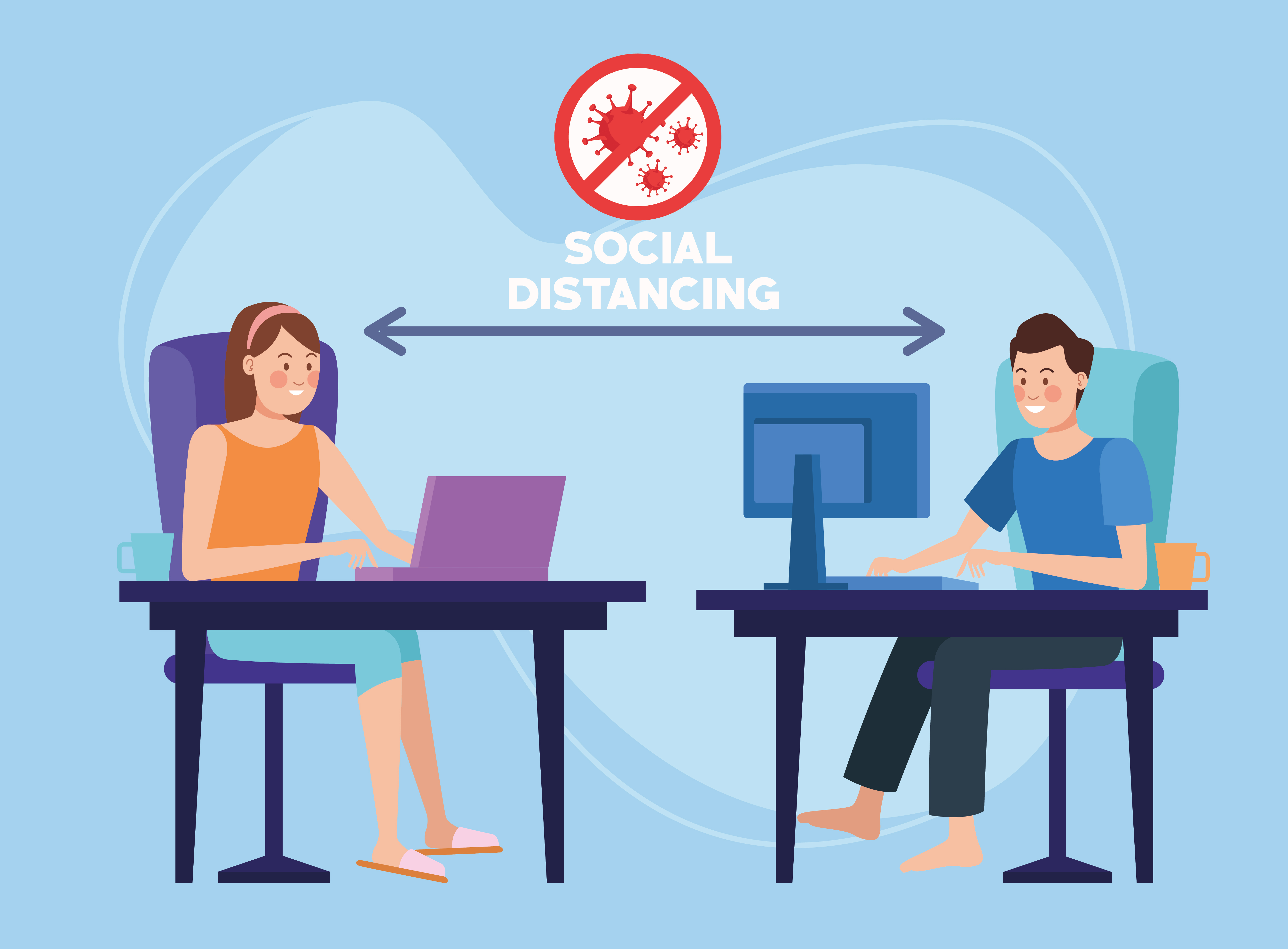 Couple working from home with social distancing