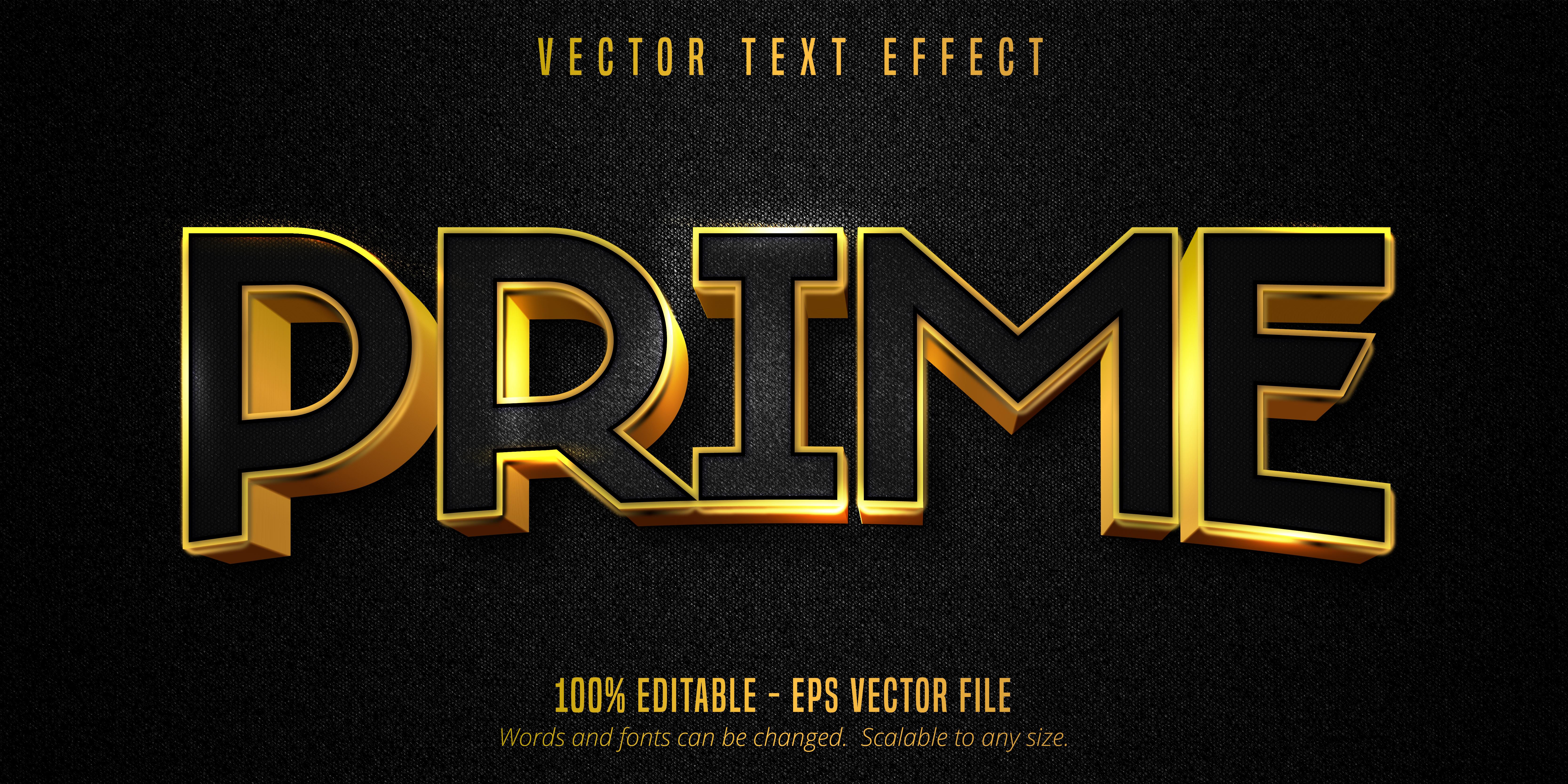texto principal, efeito de texto dourado luxuoso em tela preta