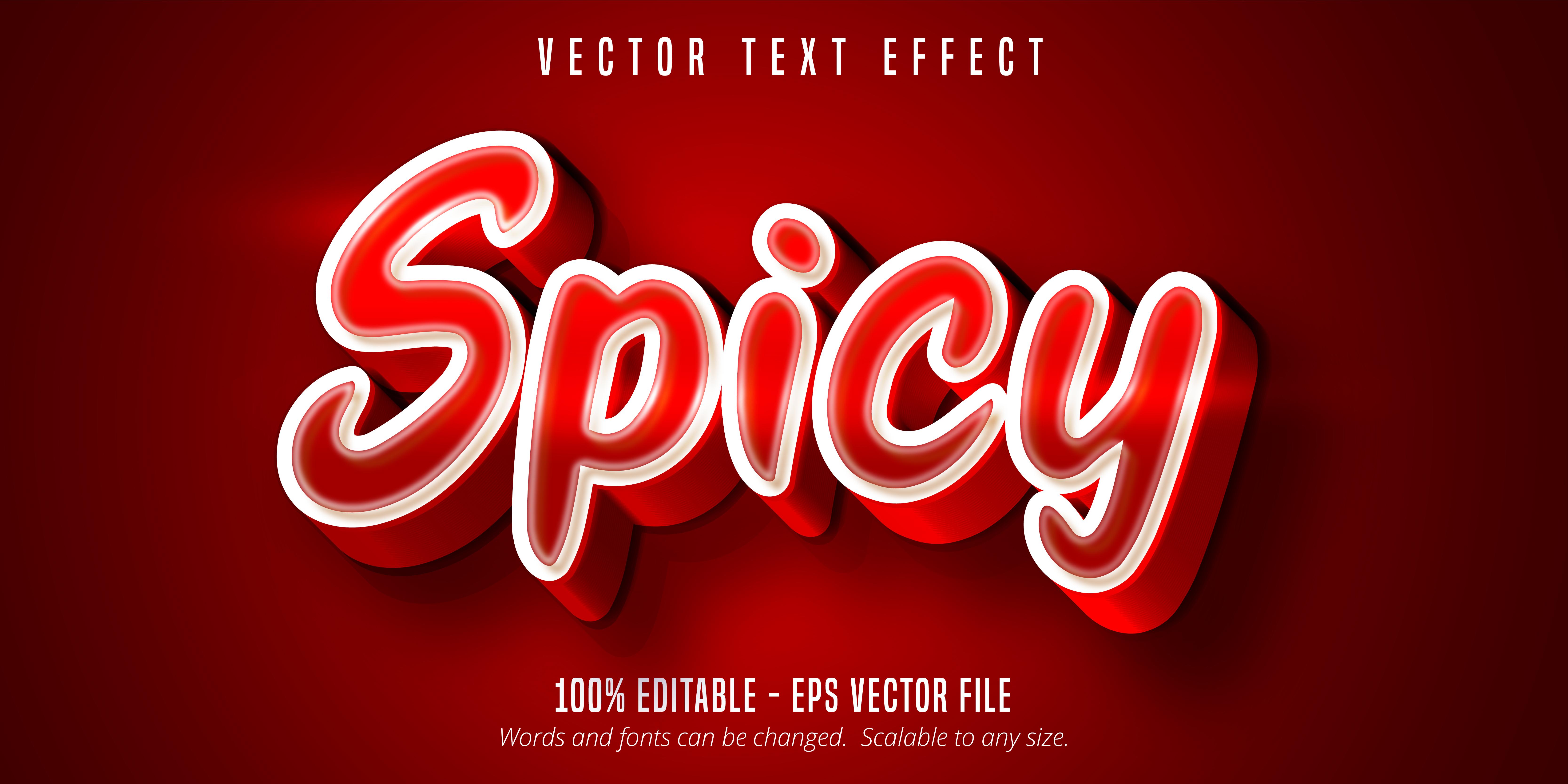 texto picante, efecto de texto de color rojo