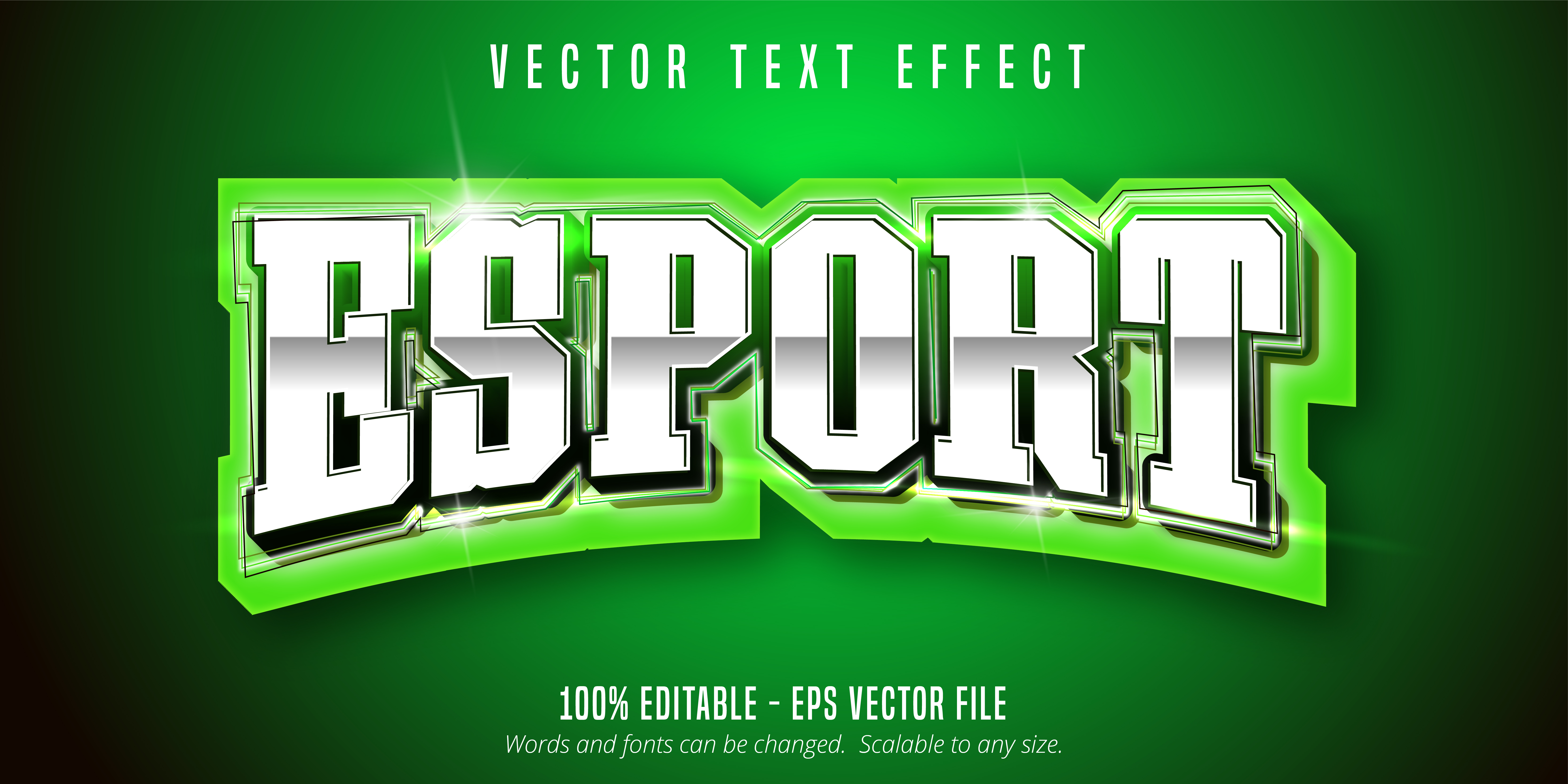 texto de e-sport verde, efecto de texto de estilo deportivo