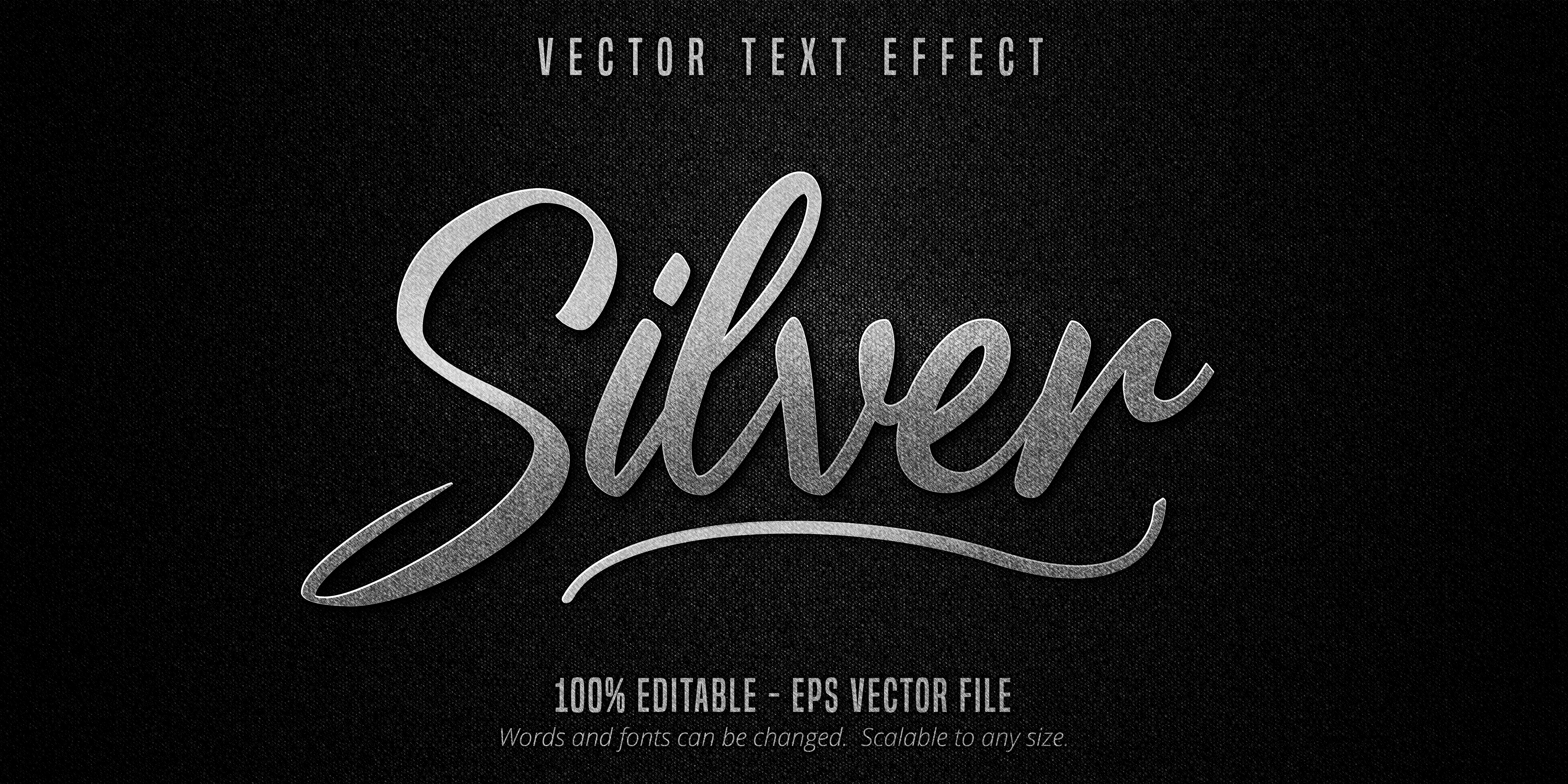 Metallic Silver Text Effect on Black Canvas Texture vector