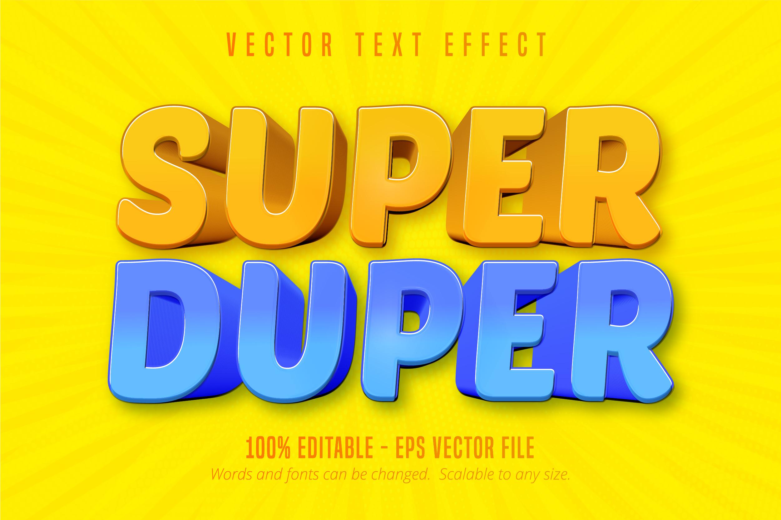 texto super duper, efecto de texto editable de estilo de dibujos animados