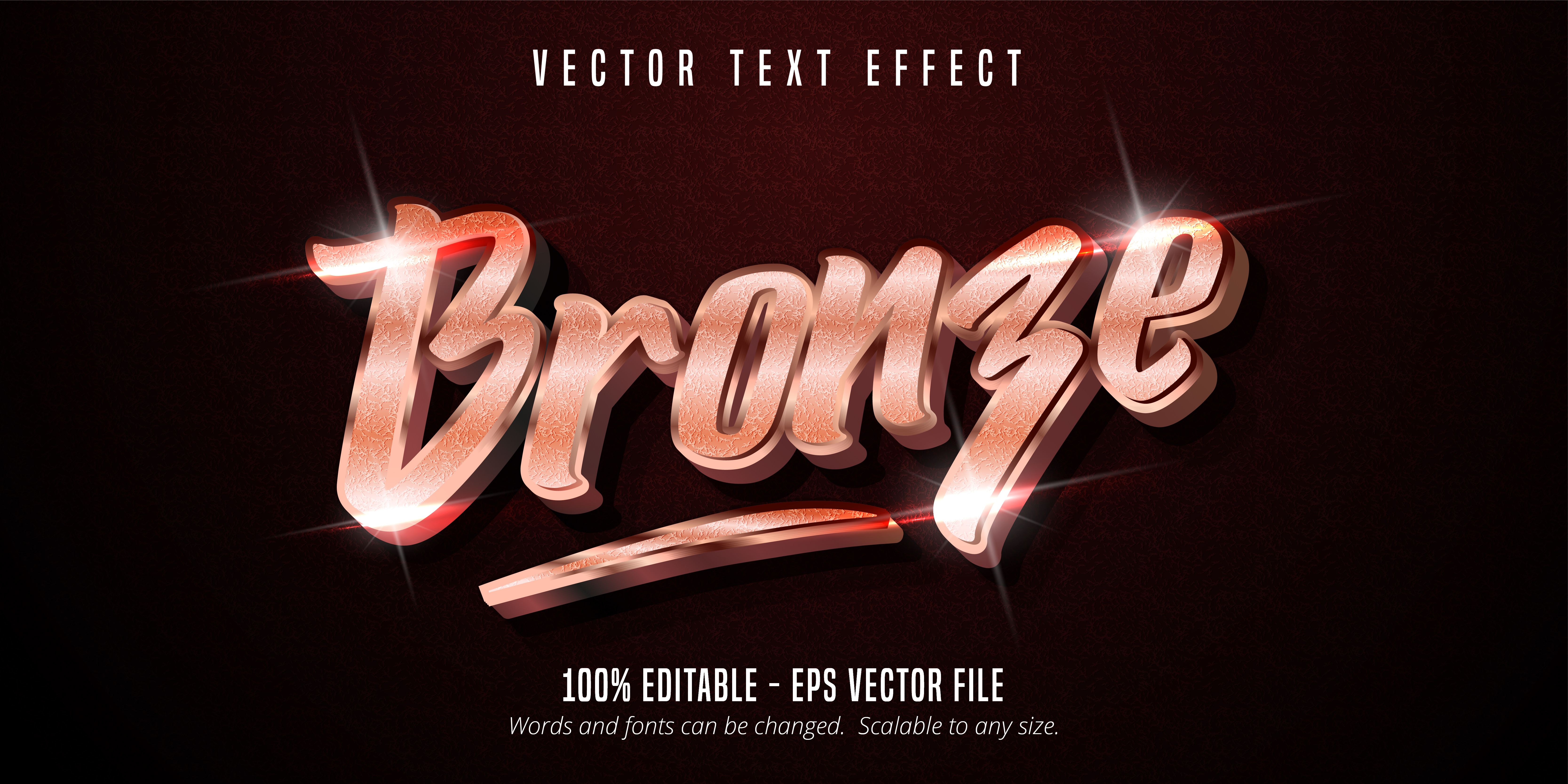 Bronze Text, Shiny Rose Gold Metallic Text Effect vector