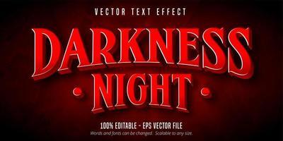 texto de noche de oscuridad, efecto de texto de estilo de juego vector