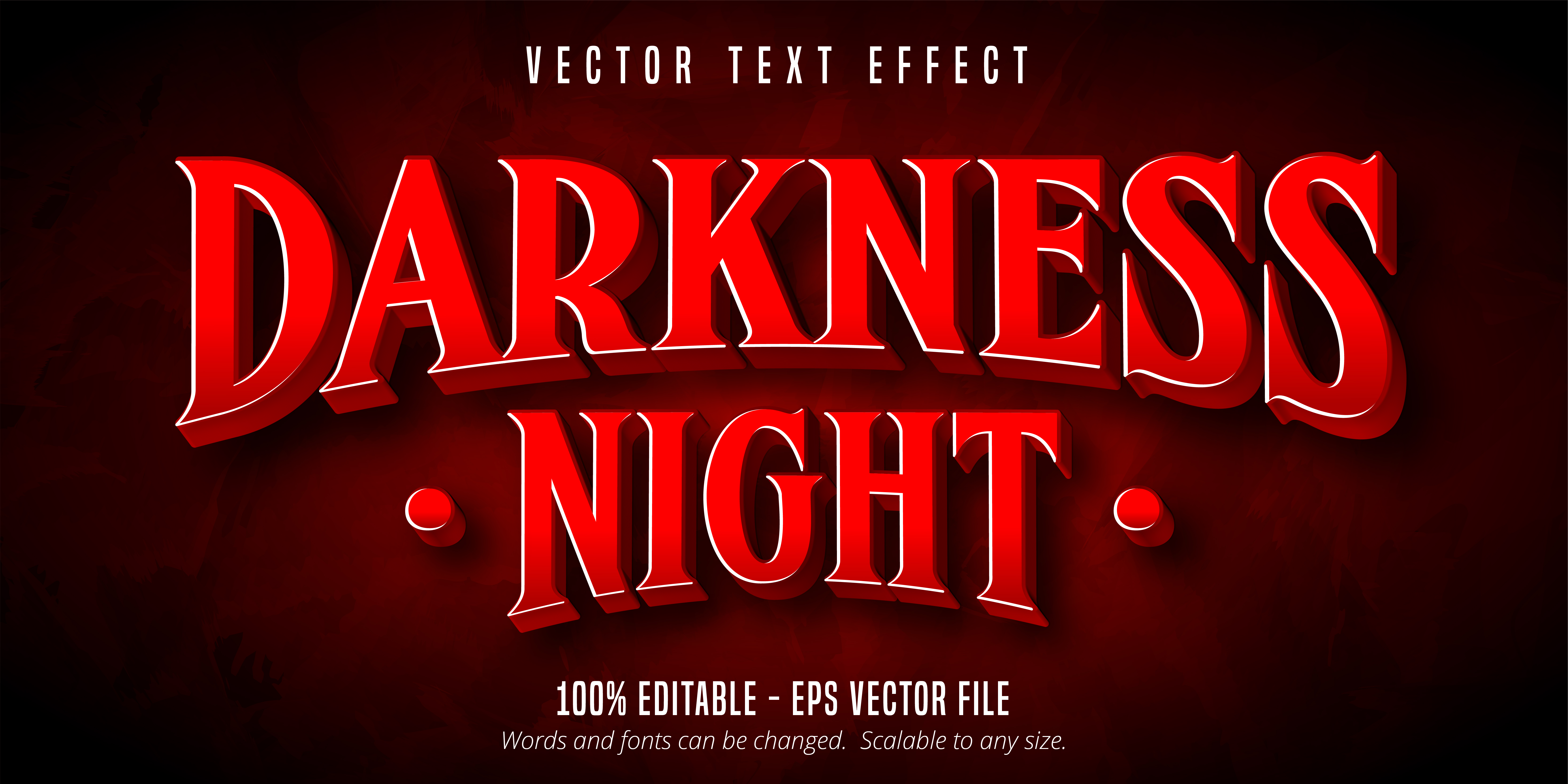 Darkness Night Text, Game Style Text Effect vector