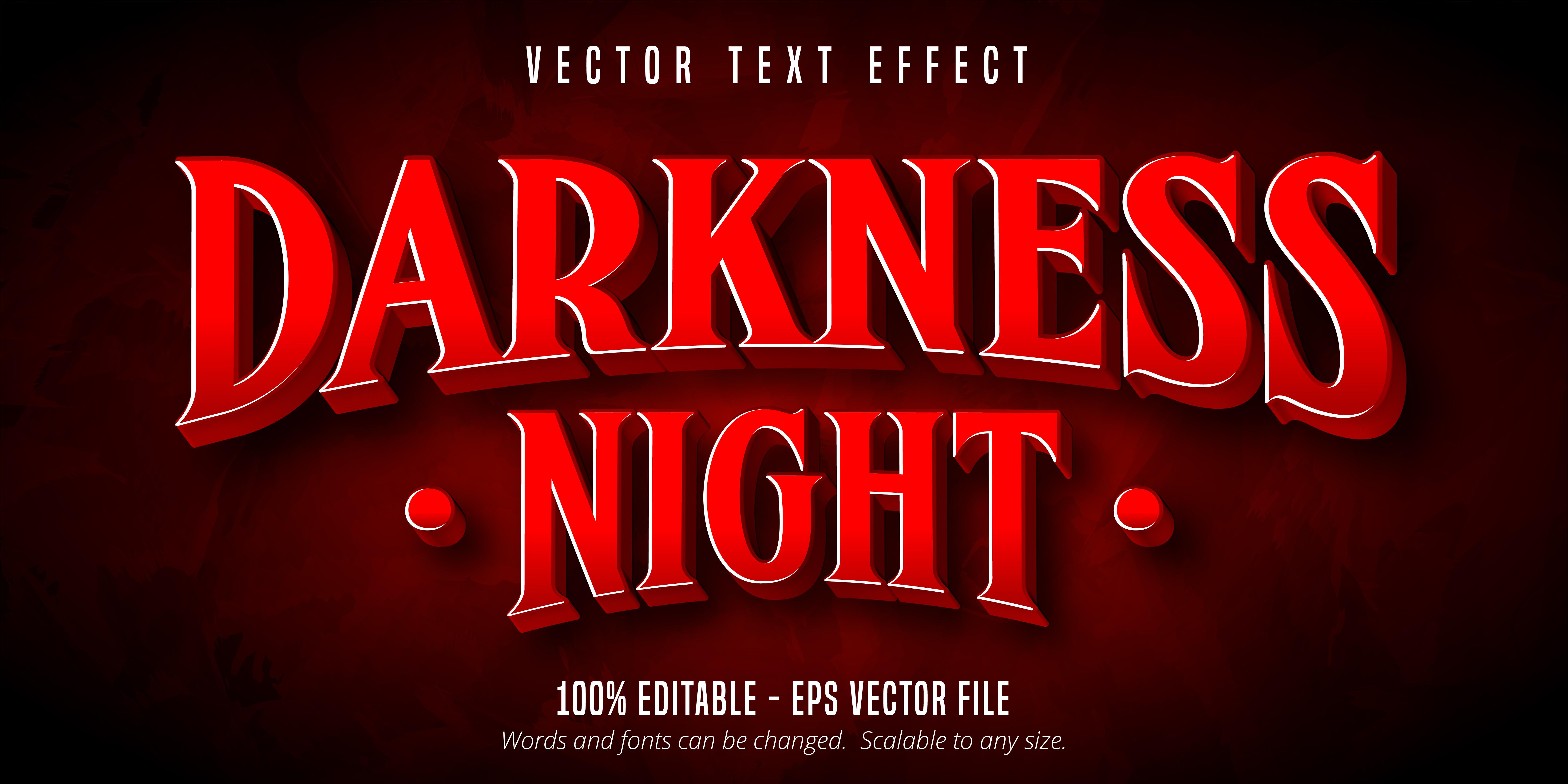 texto de noche de oscuridad, efecto de texto de estilo de juego