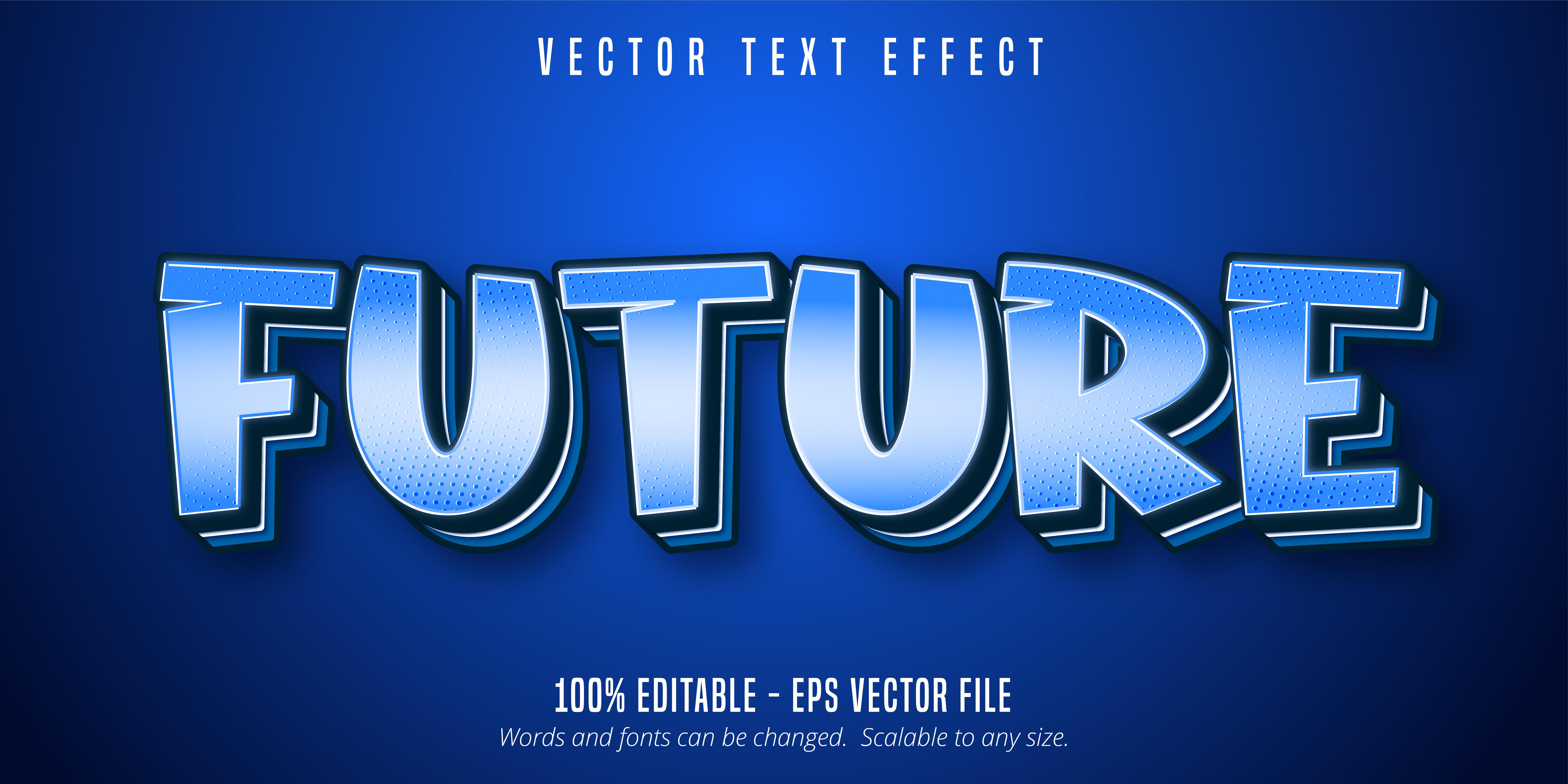 texto futuro, efecto de texto de estilo pop art.