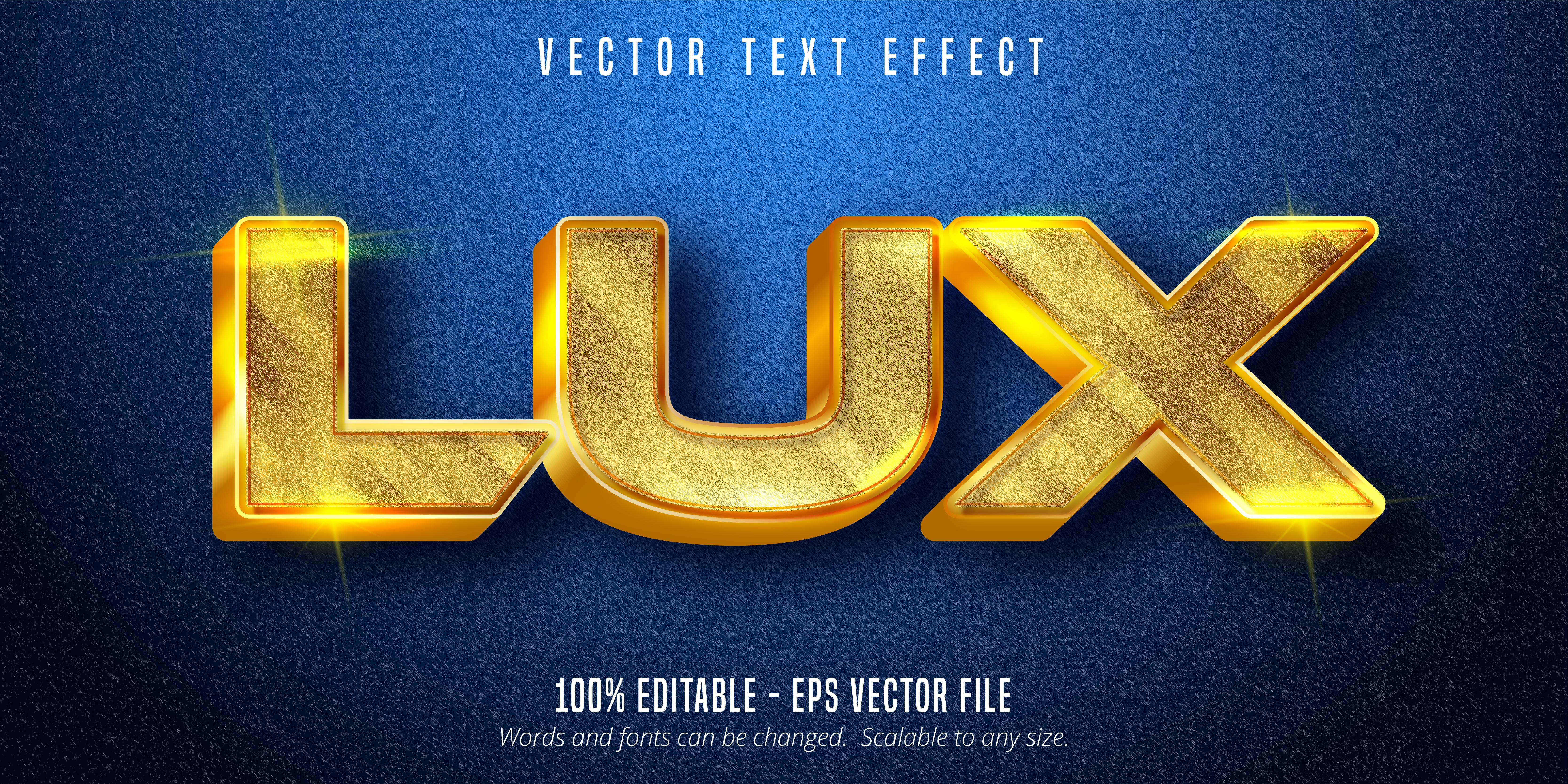 texto lux, efecto de texto de estilo dorado brillante