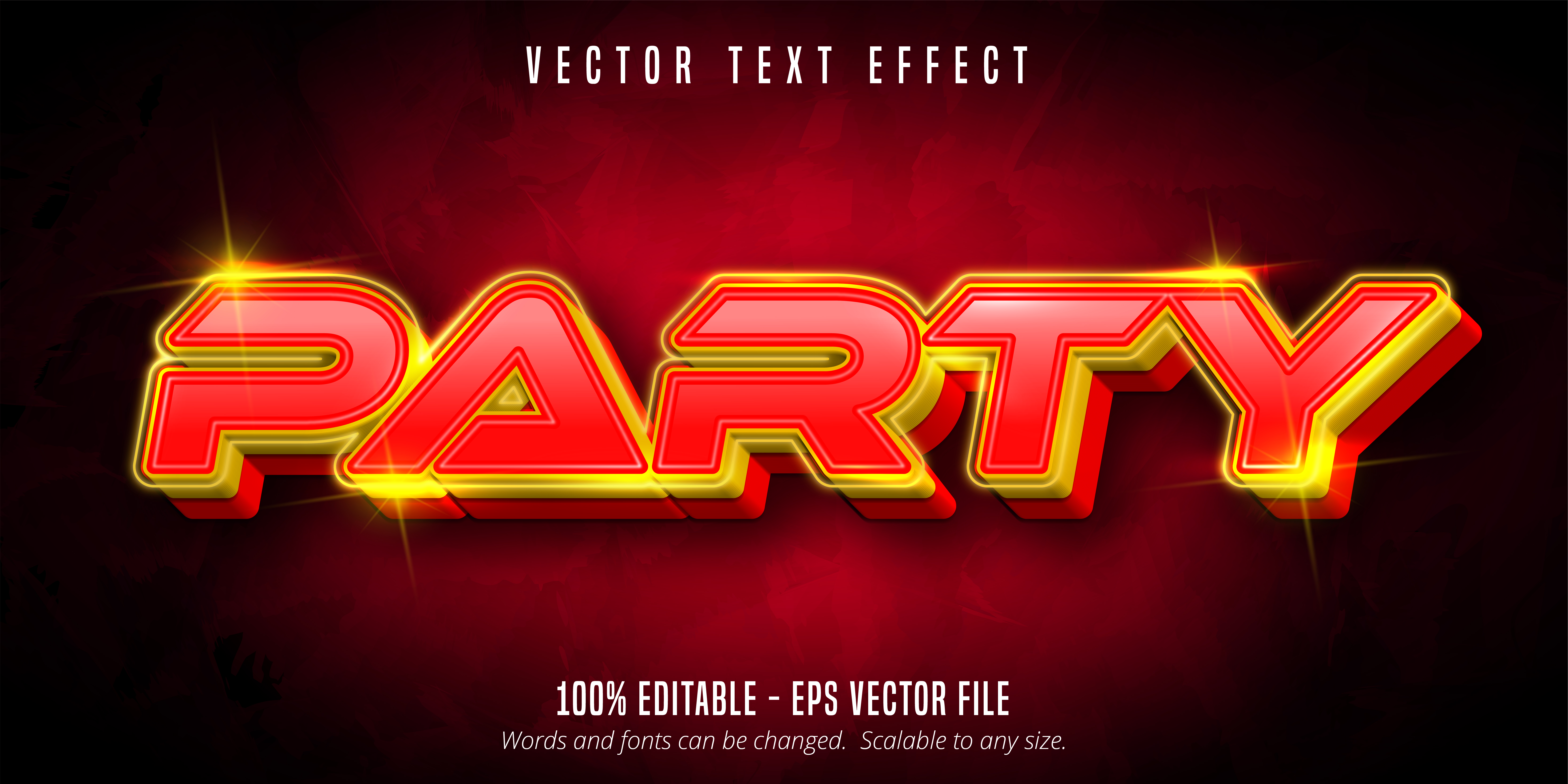 Party Text, Neon Style Text Effect vector