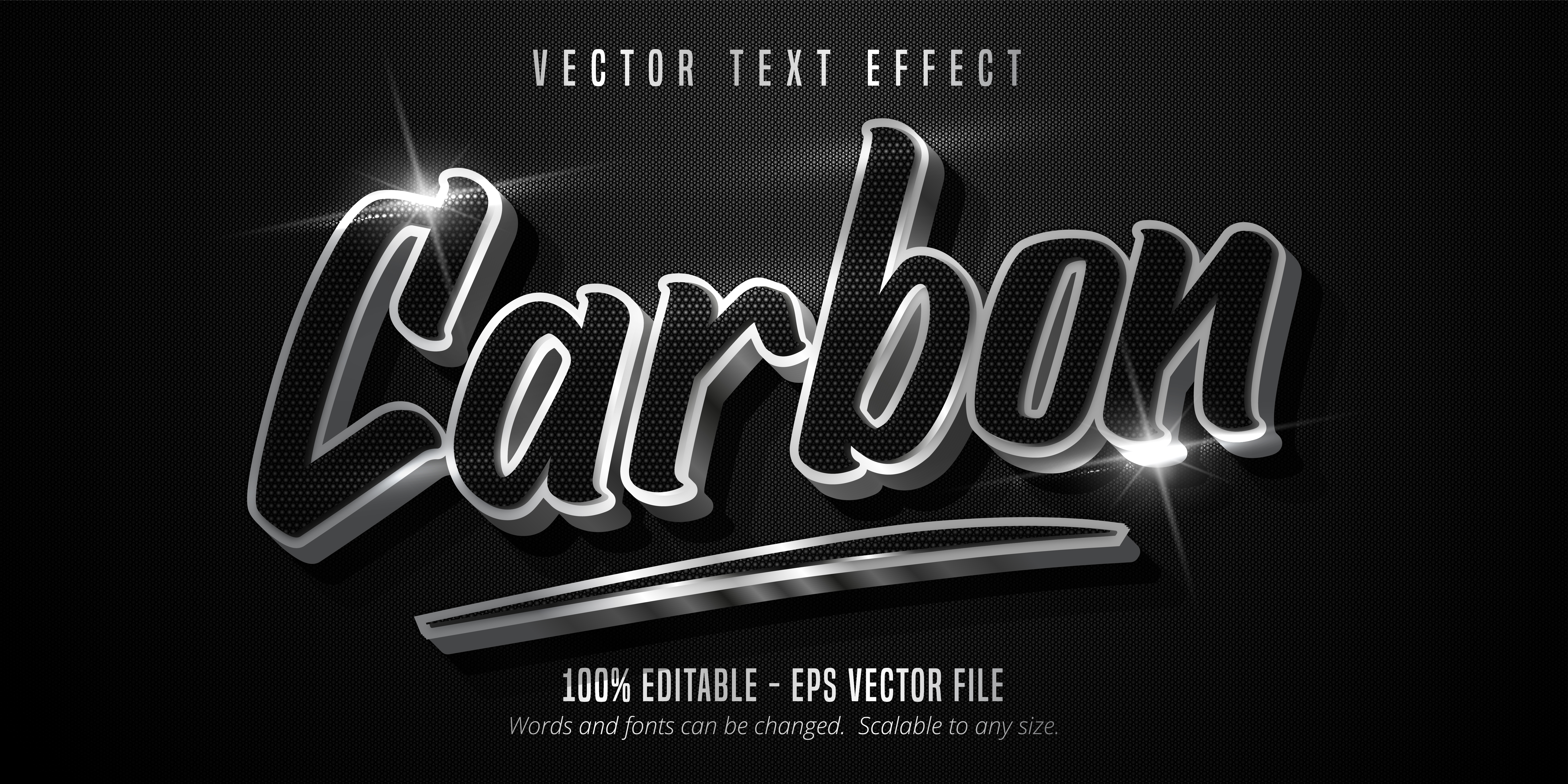 Carbon Text, Shiny Silver Style Text Effect vector