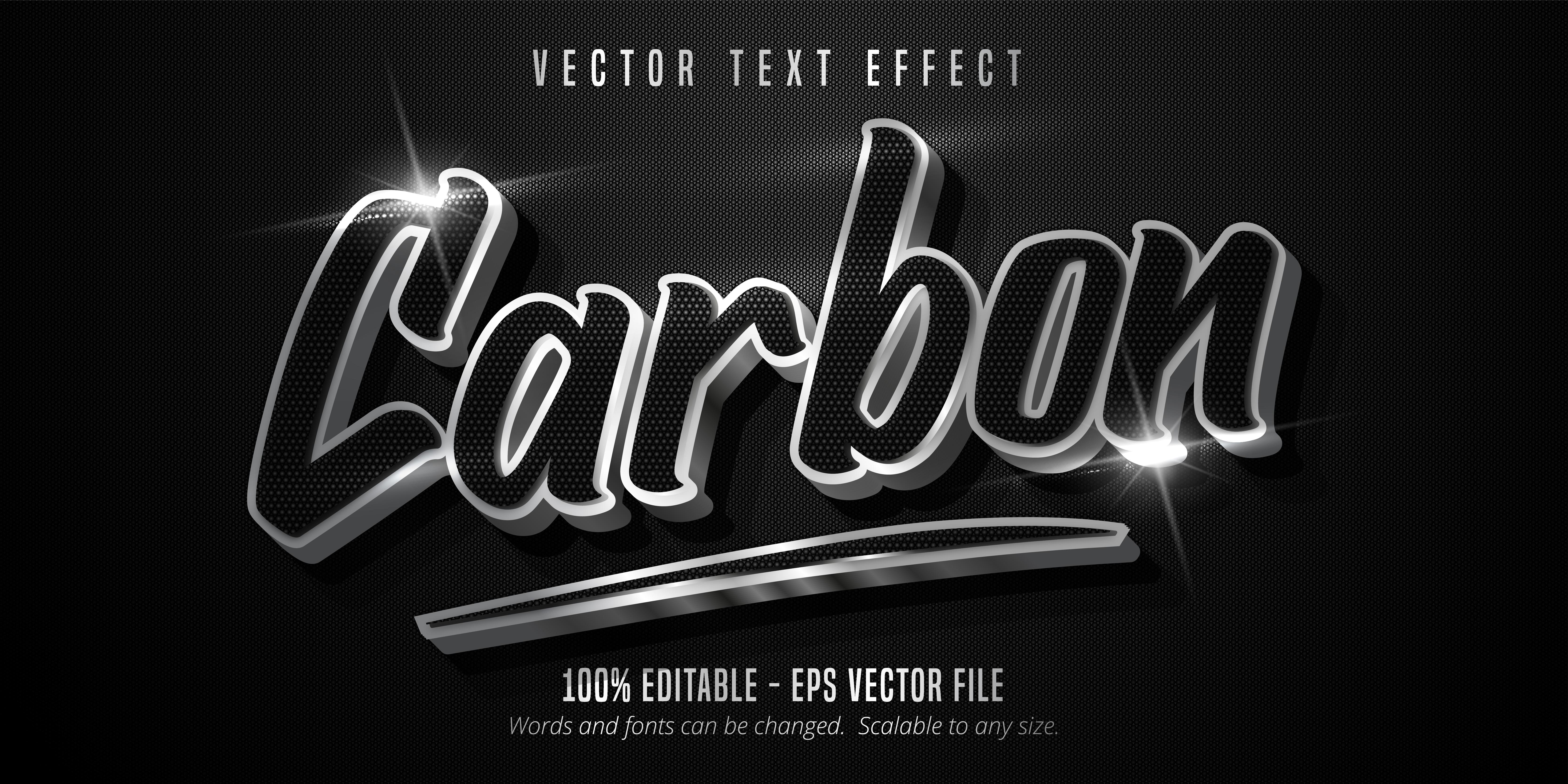 texto de carbono, efecto de texto de estilo plateado brillante