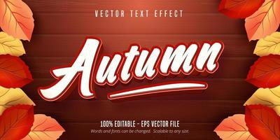 Autumn Text Effect on Wooden Texture vector