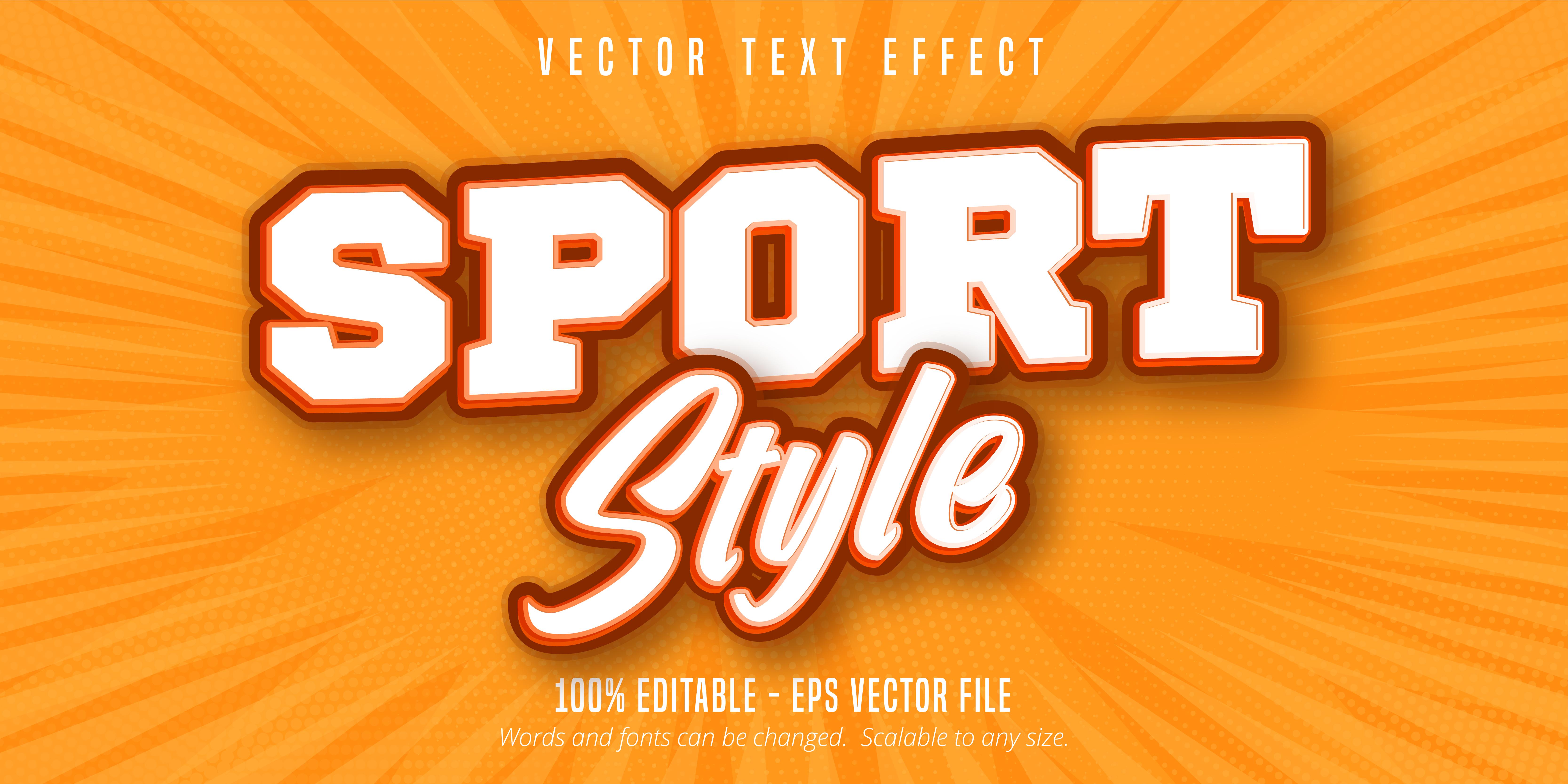 texto de estilo deportivo, efecto de texto de estilo pop art
