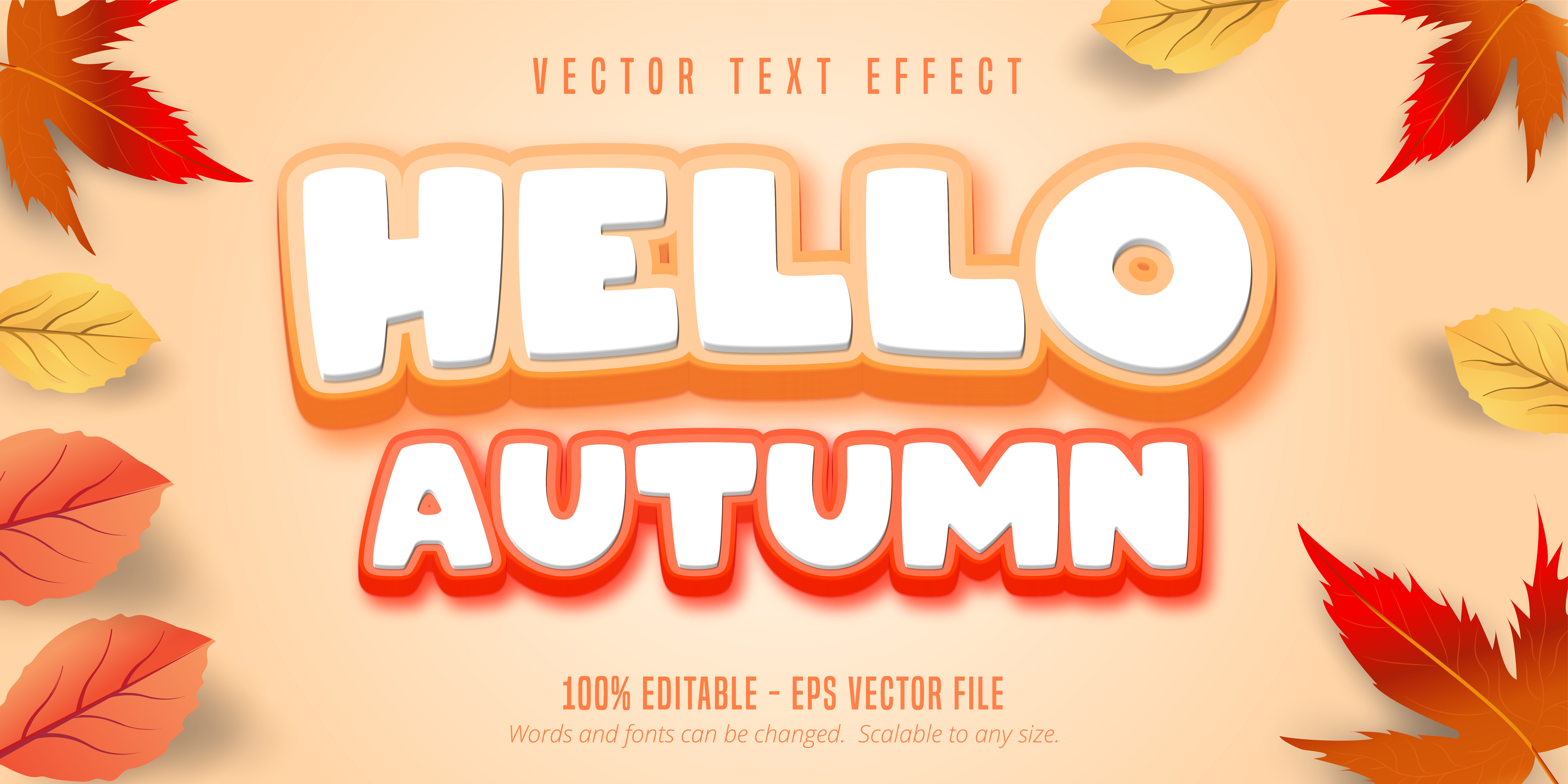 Hello Autumn Text, Fall Style Text Effect