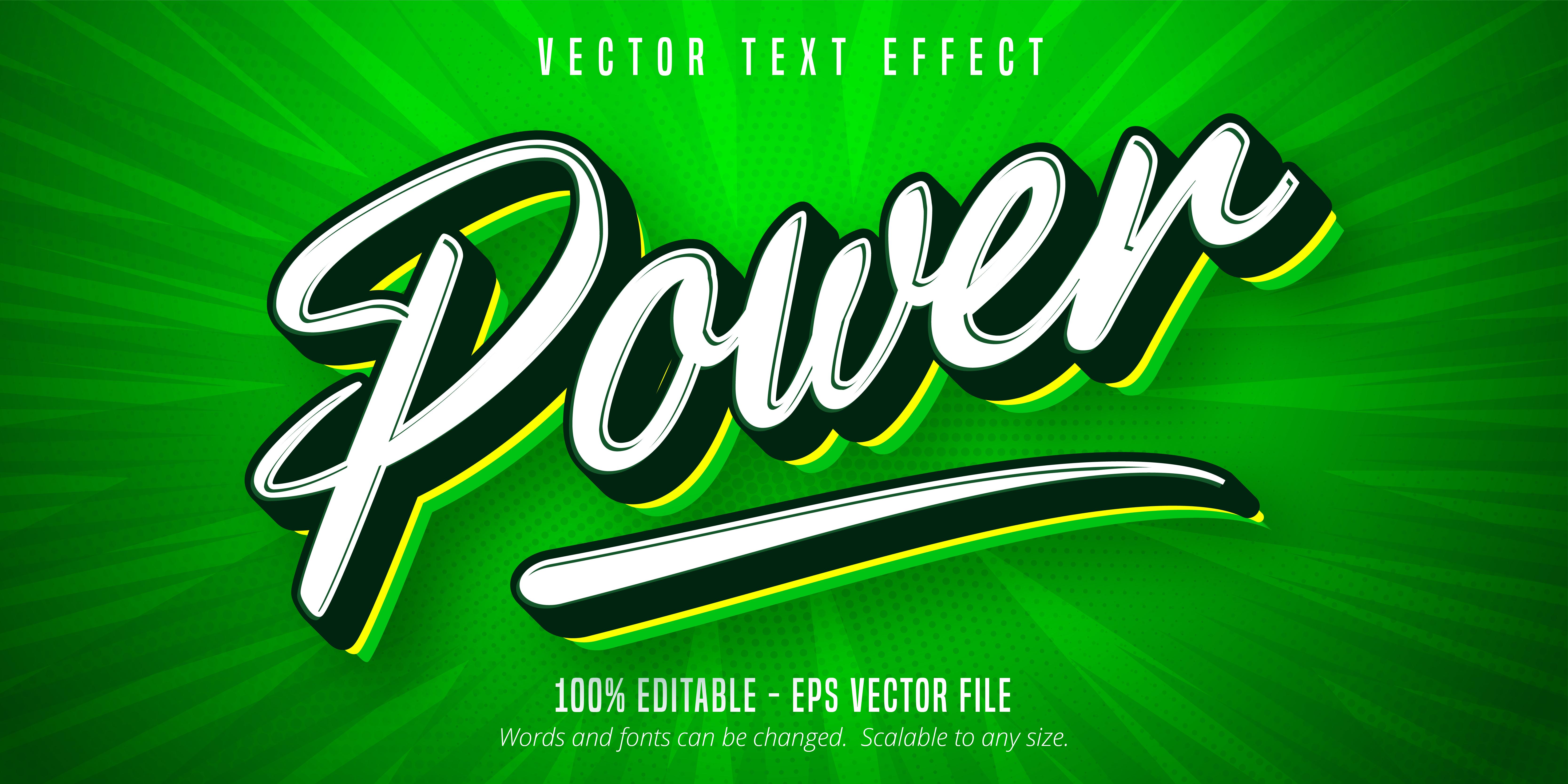 texto de poder, efecto de texto de estilo script